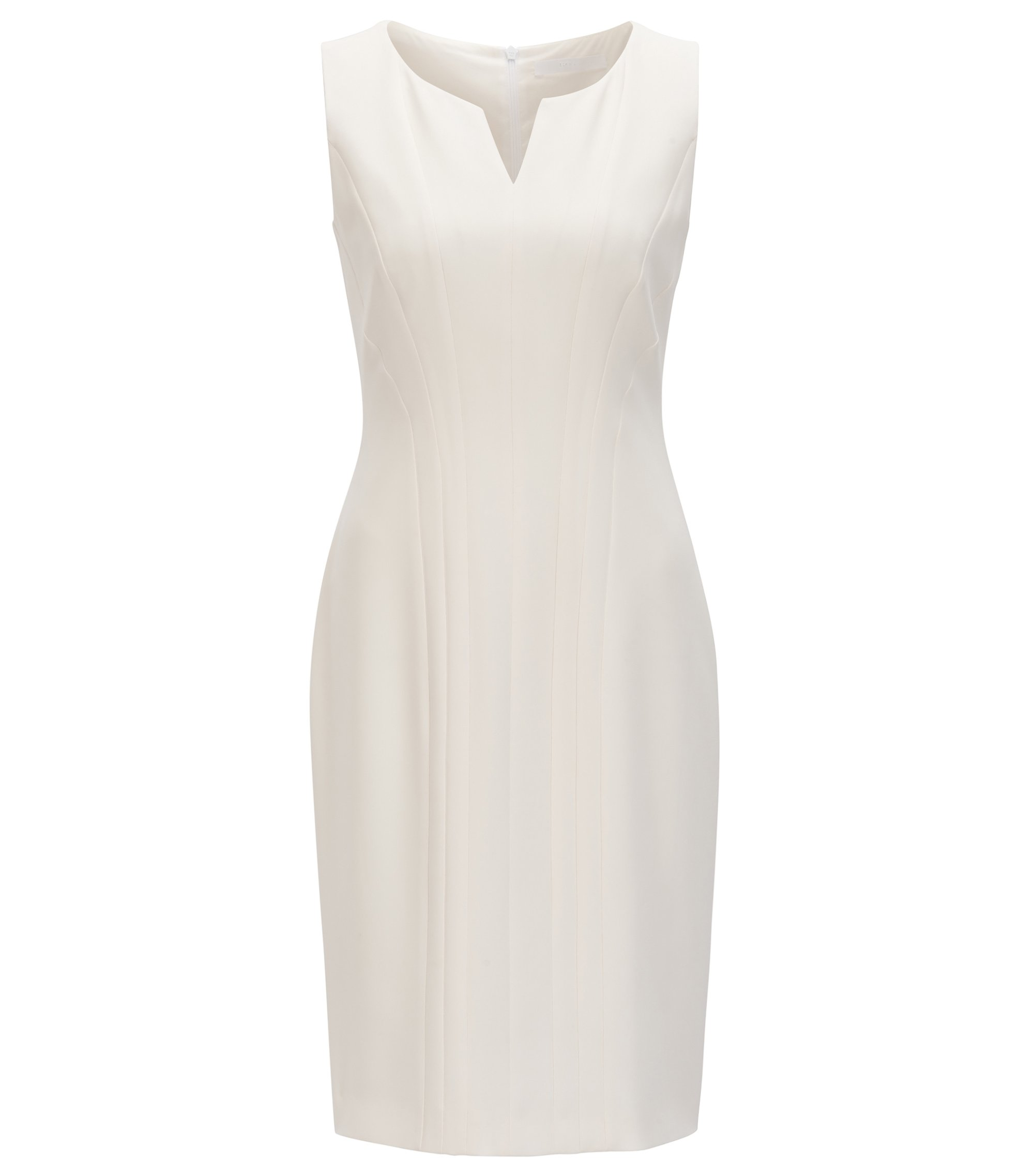 Tailored shift dress with notch neckline , Natural