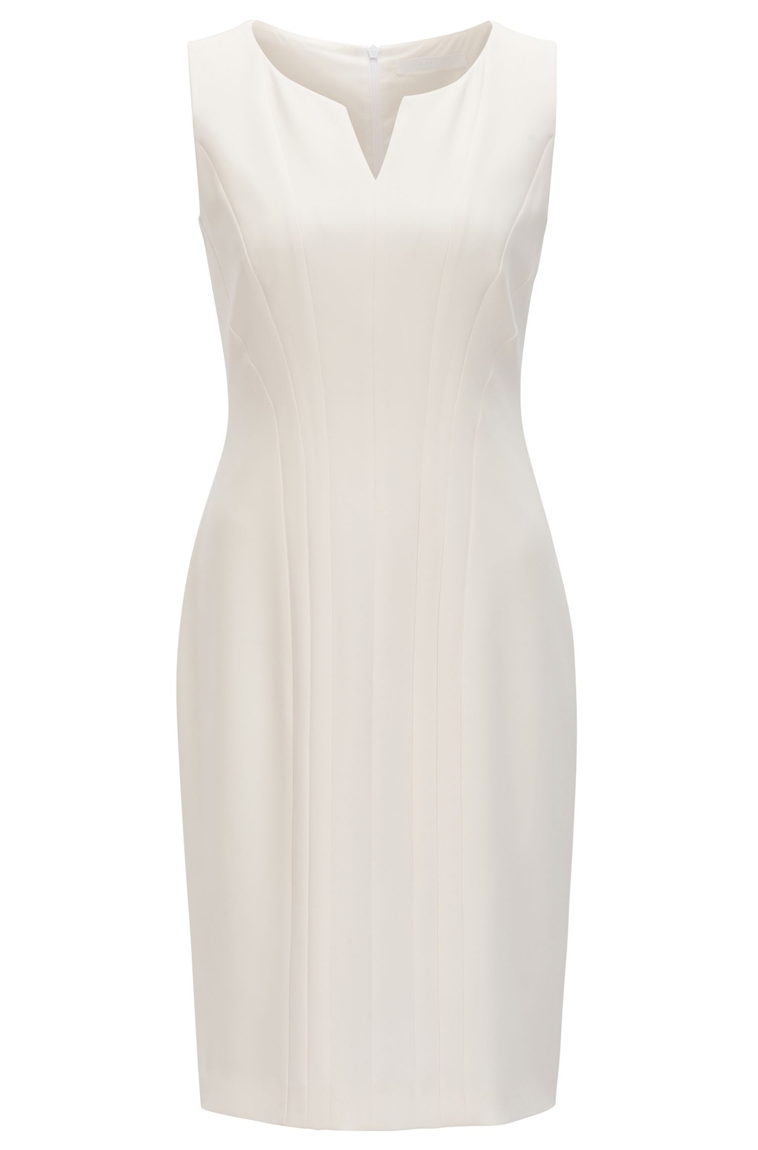 Tailored shift dress with notch neckline