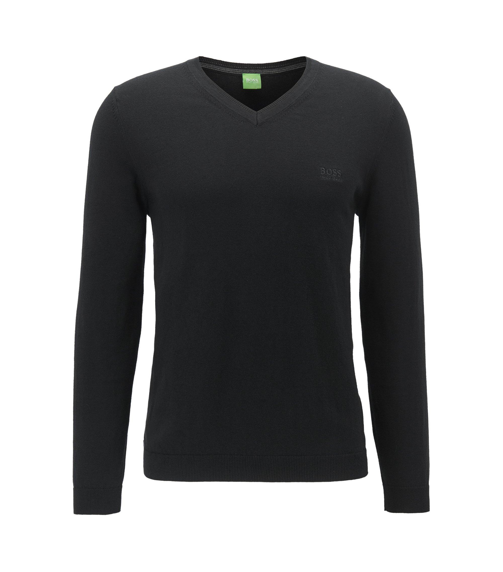 V-neck sweater in super-soft cotton blended with cashmere, Black