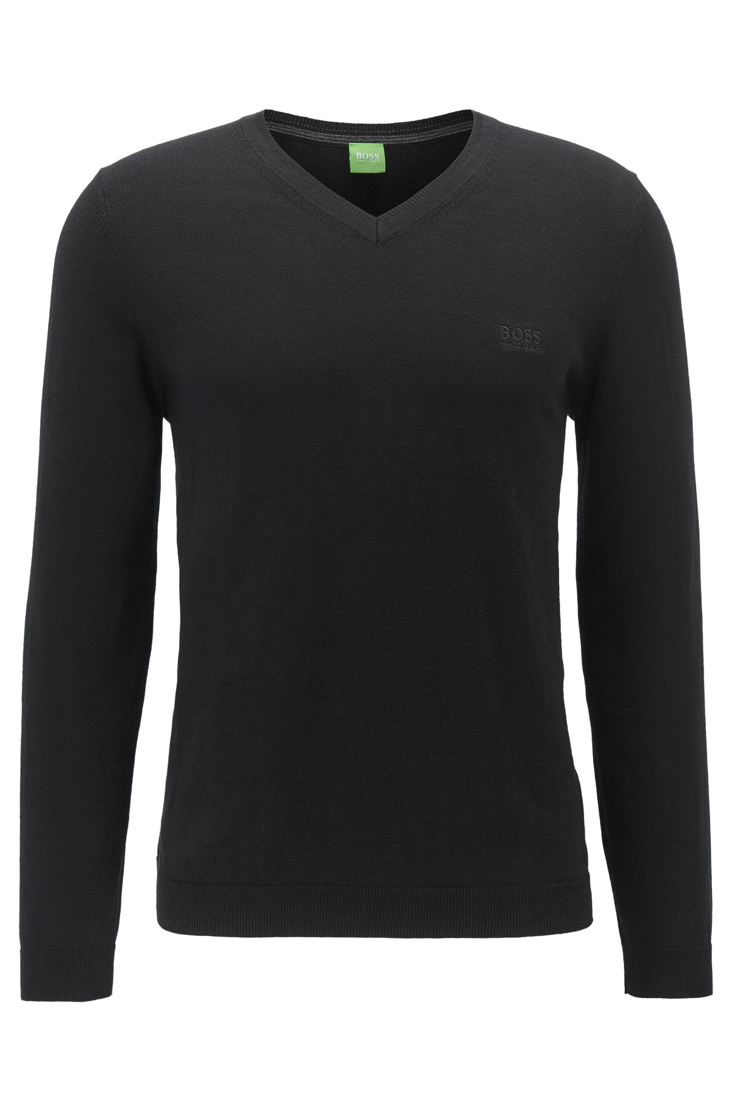 V-neck sweater in super-soft cotton blended with cashmere