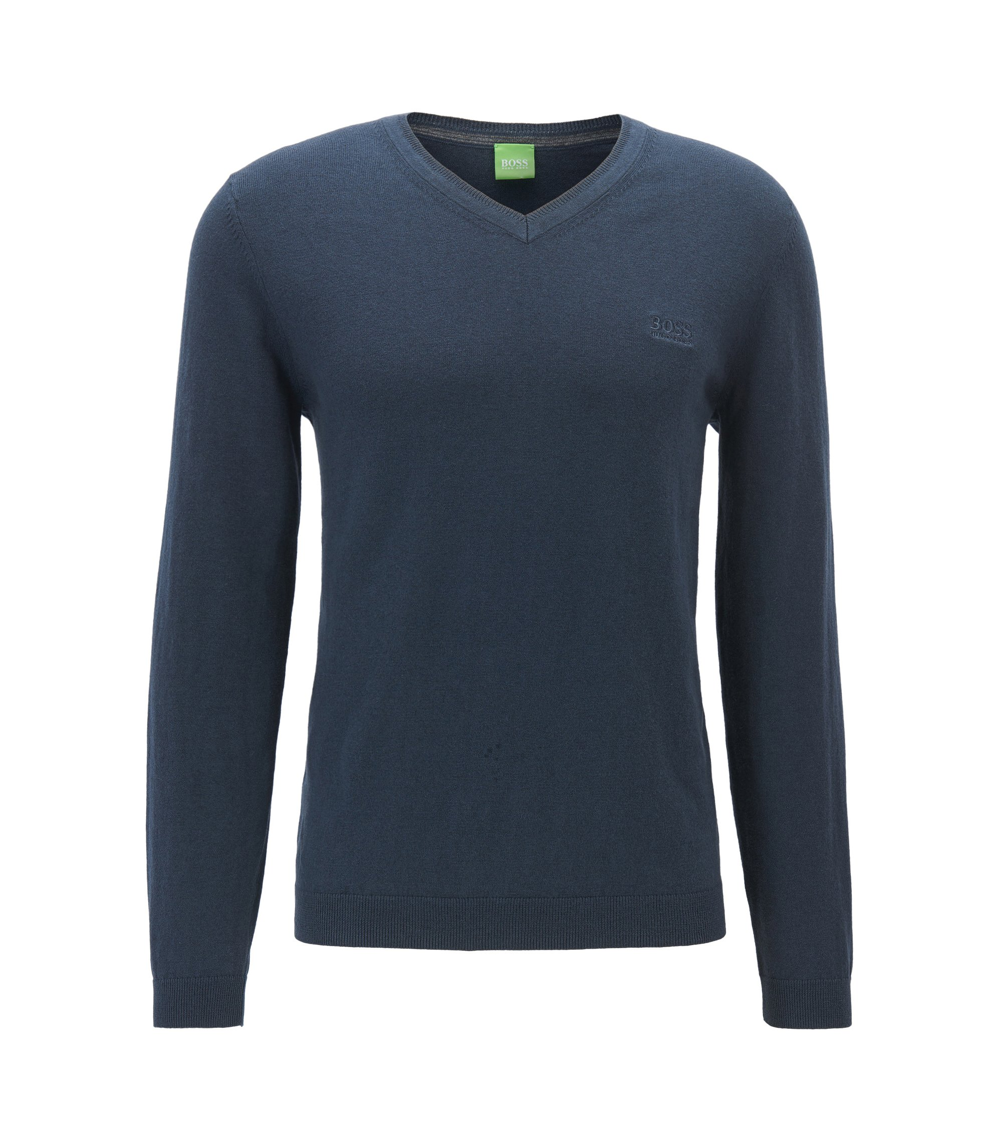 V-neck sweater in super-soft cotton blended with cashmere, Dark Blue