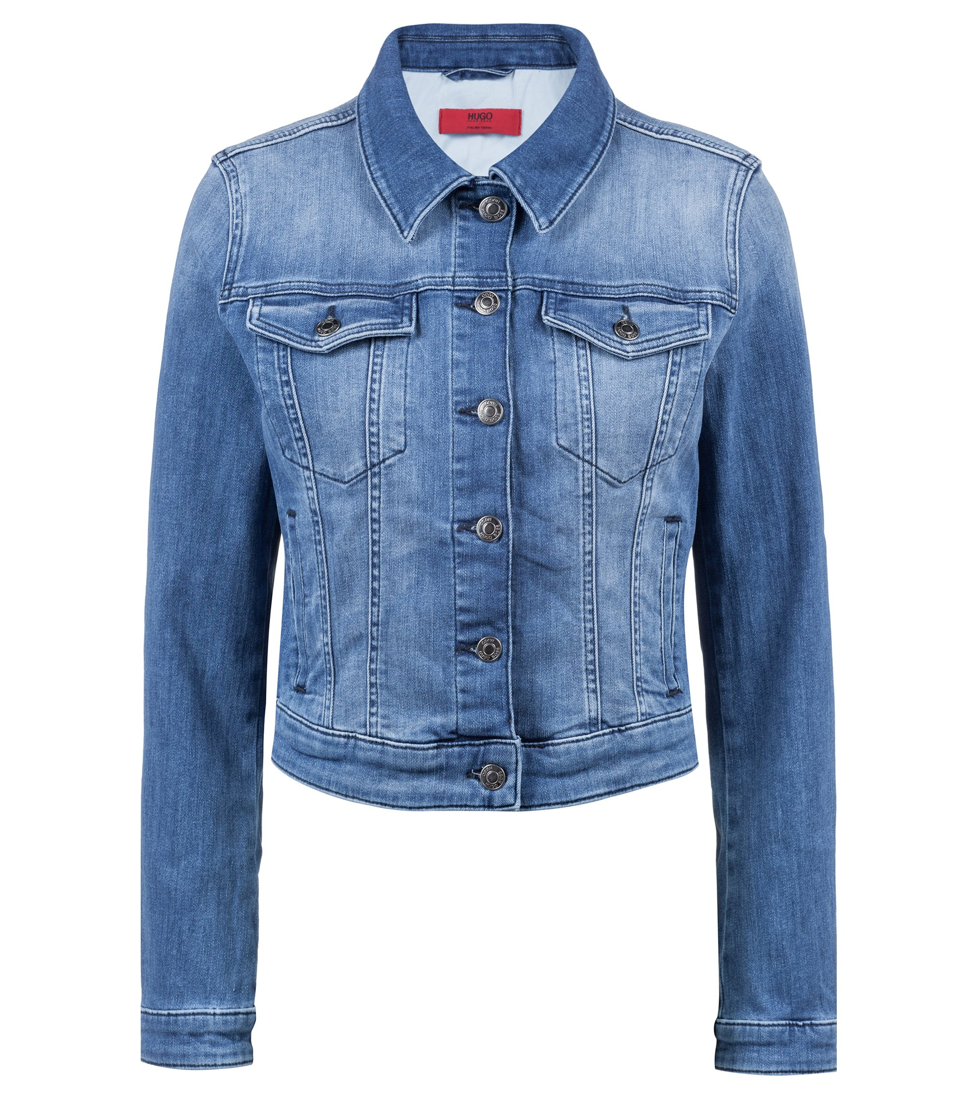 Slim-fit denim jacket with buttoned chest pockets, Blue