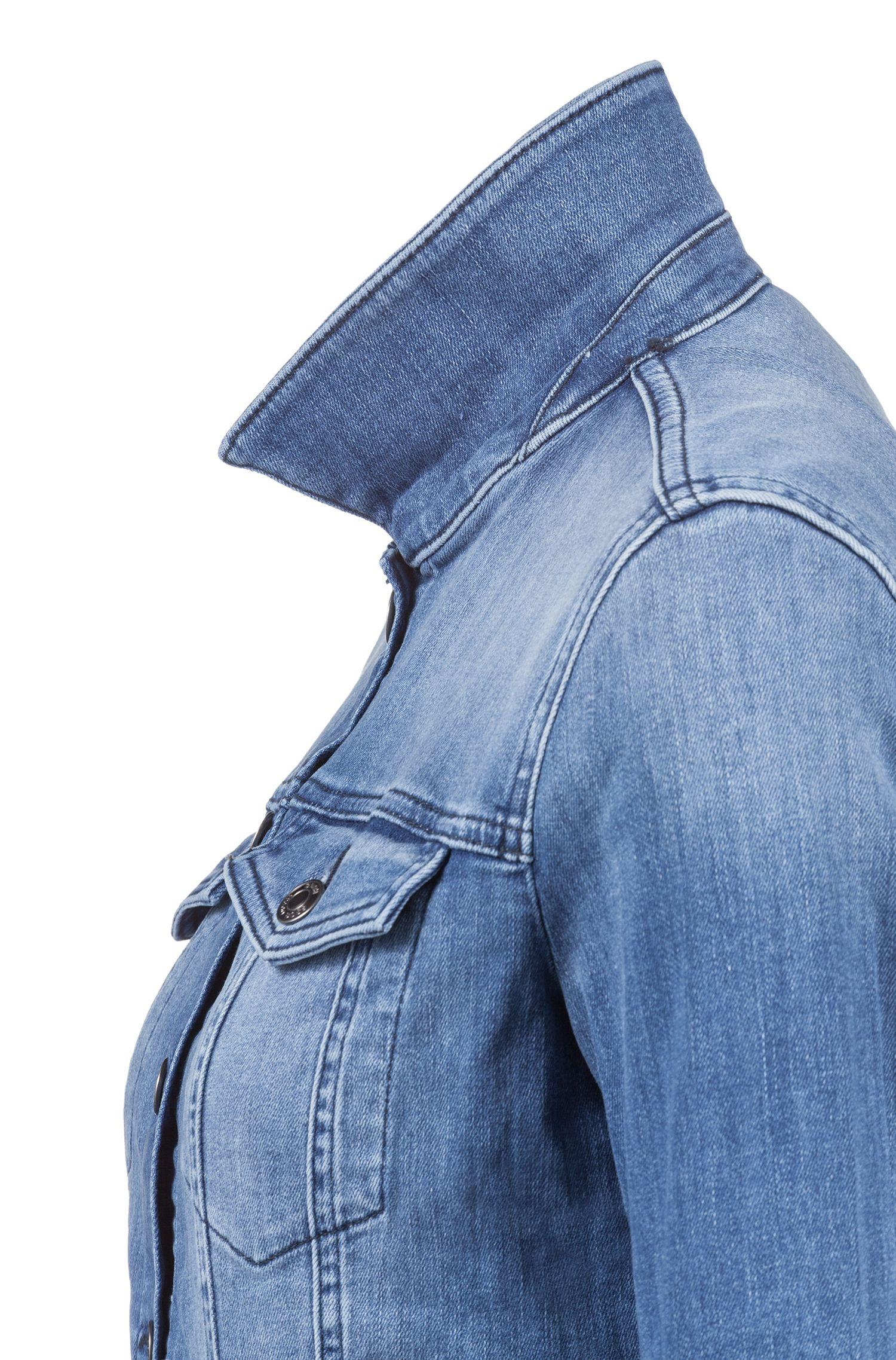 Slim-fit denim jack met borstzakken met knopen
