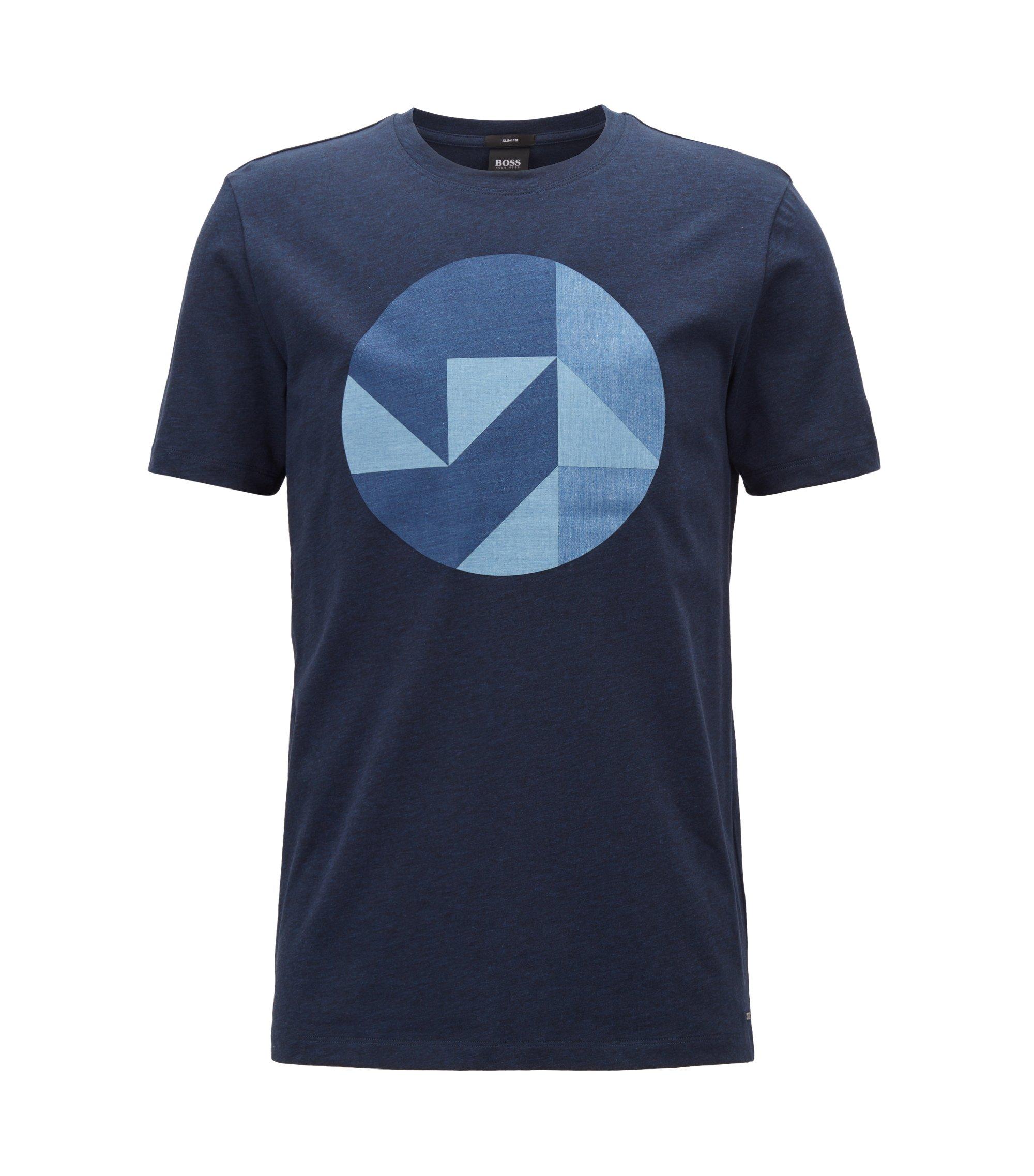 Slim-fit katoenen T-shirt met door Anni Albers geïnspireerde kunstdessin, Donkerblauw