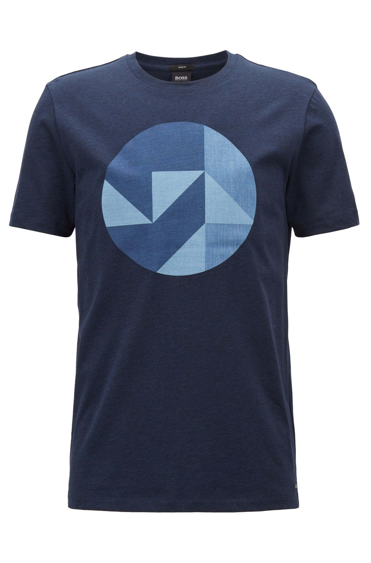 Slim-fit cotton T-shirt with Anni Albers-inspired artwork, Dark Blue