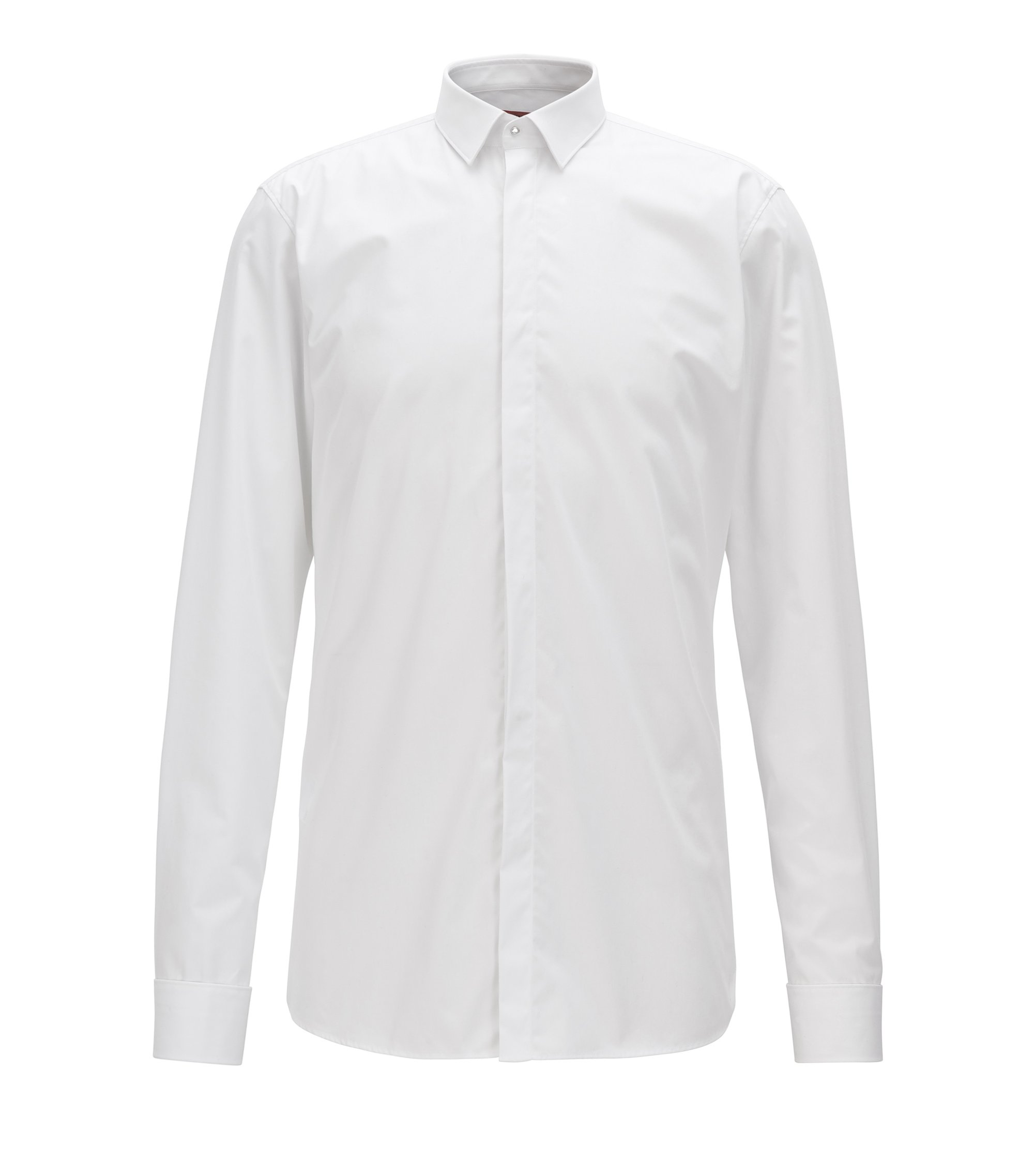 Slim-fit cotton shirt with concealed placket, White