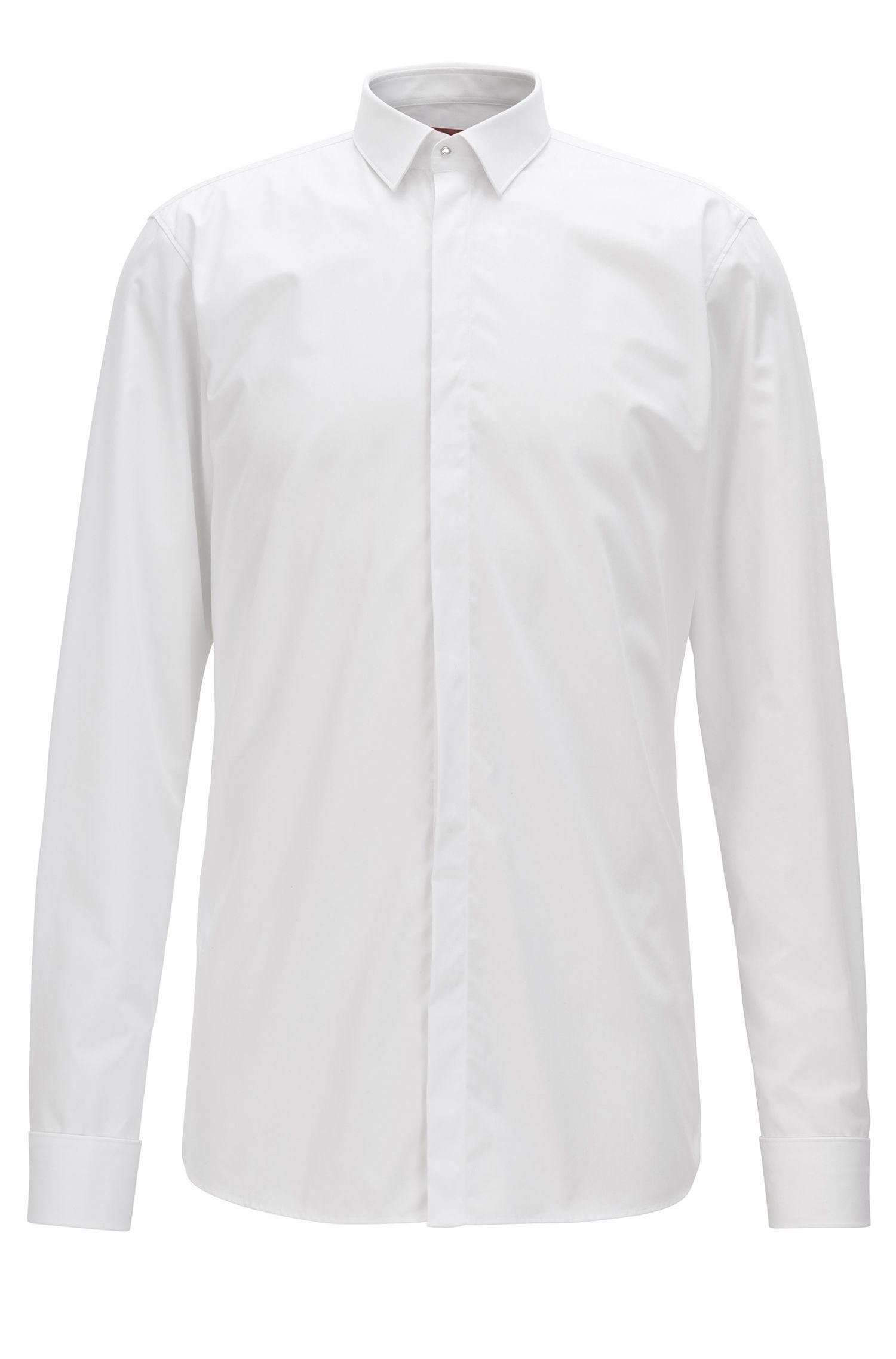 Chemise Extra Slim Fit en coton avec patte de boutonnage dissimulée