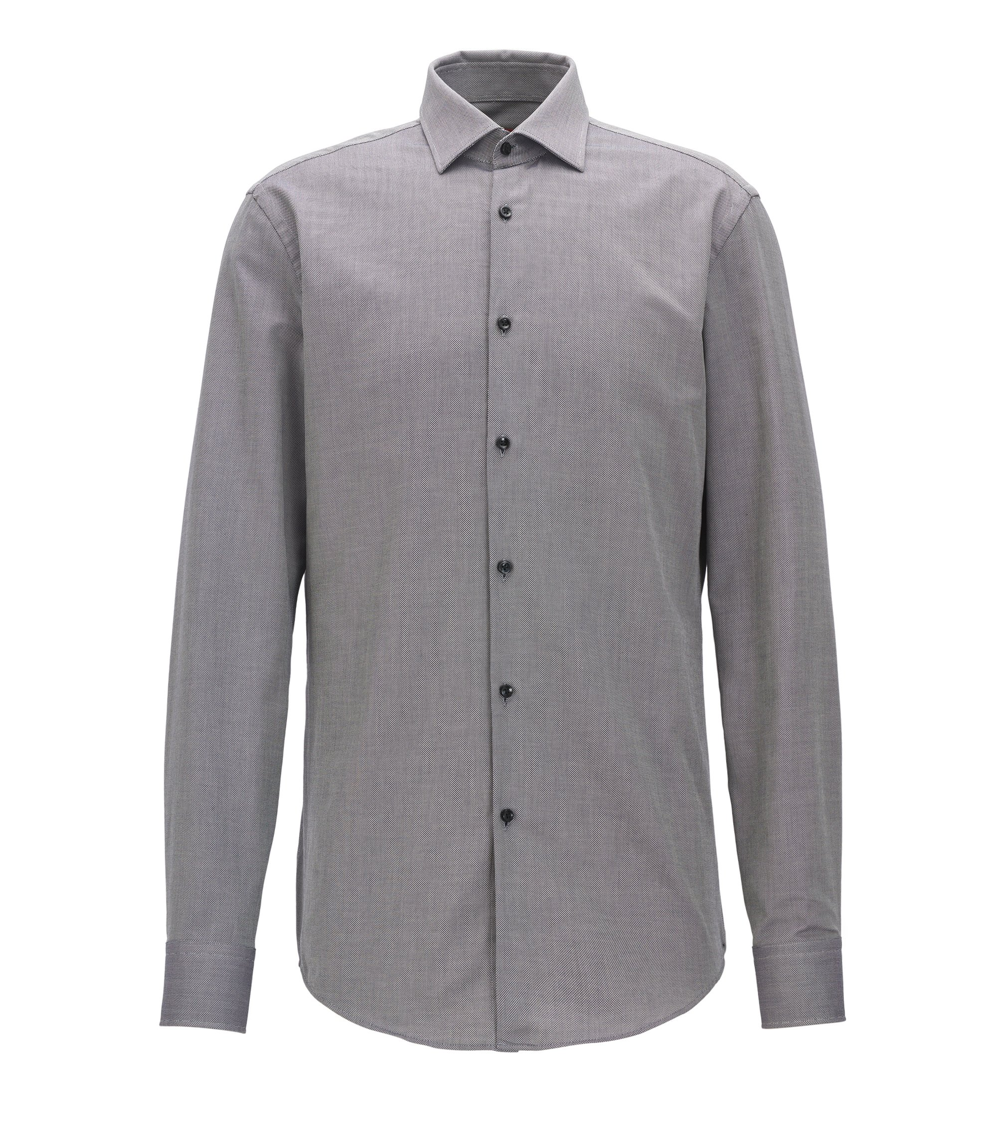 Slim-fit shirt in breathable cotton, Dark Grey