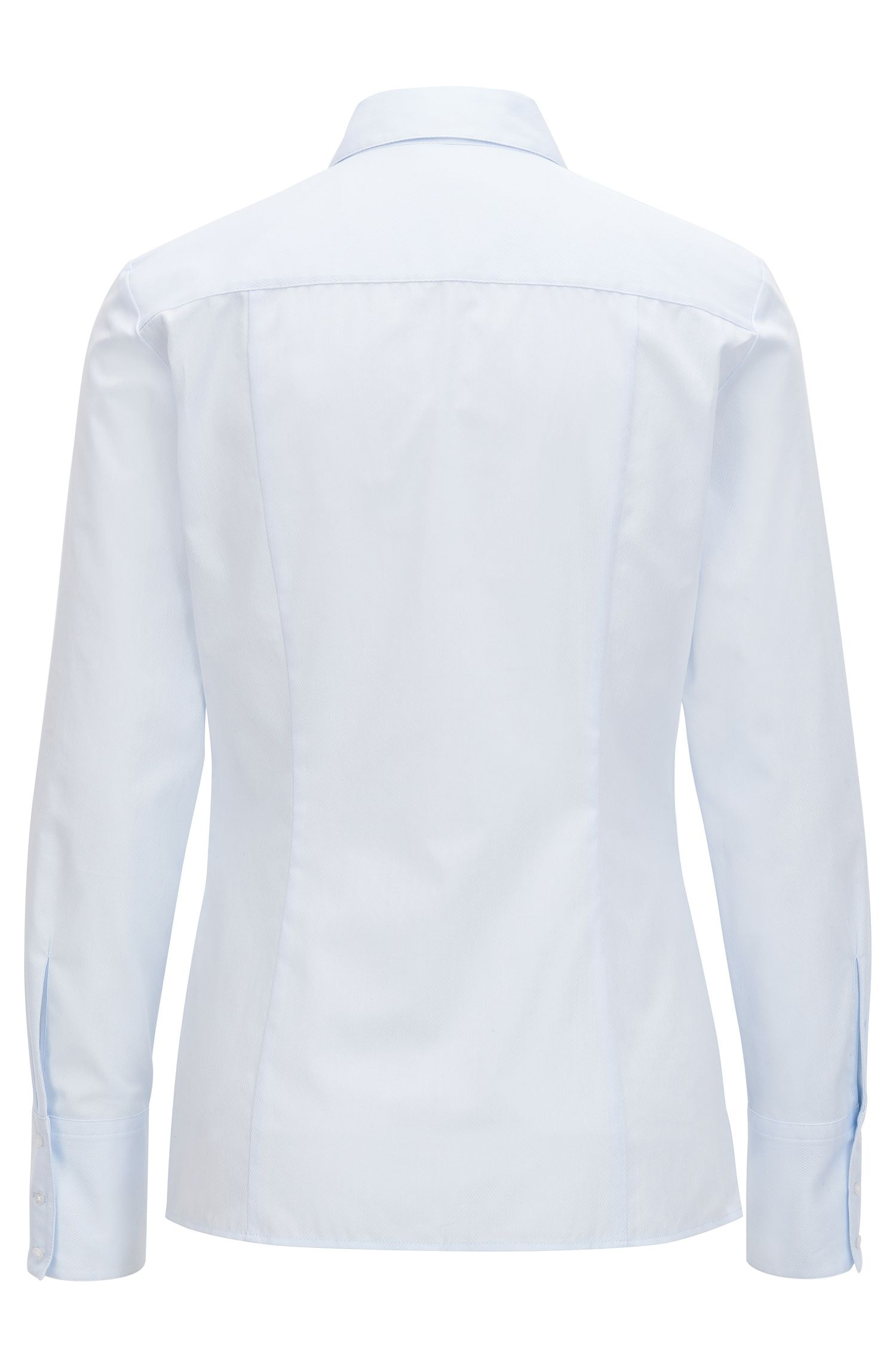 Slim-fit blouse in structured cotton, Light Blue
