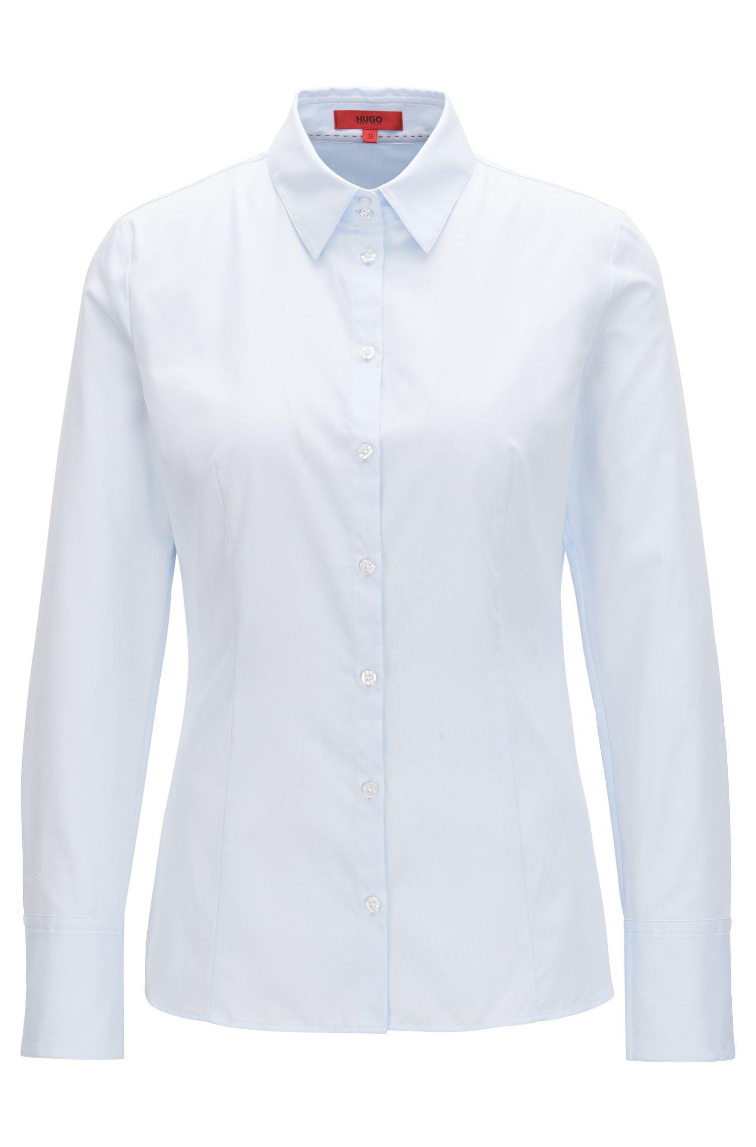 Slim-fit blouse van gestructureerde katoen