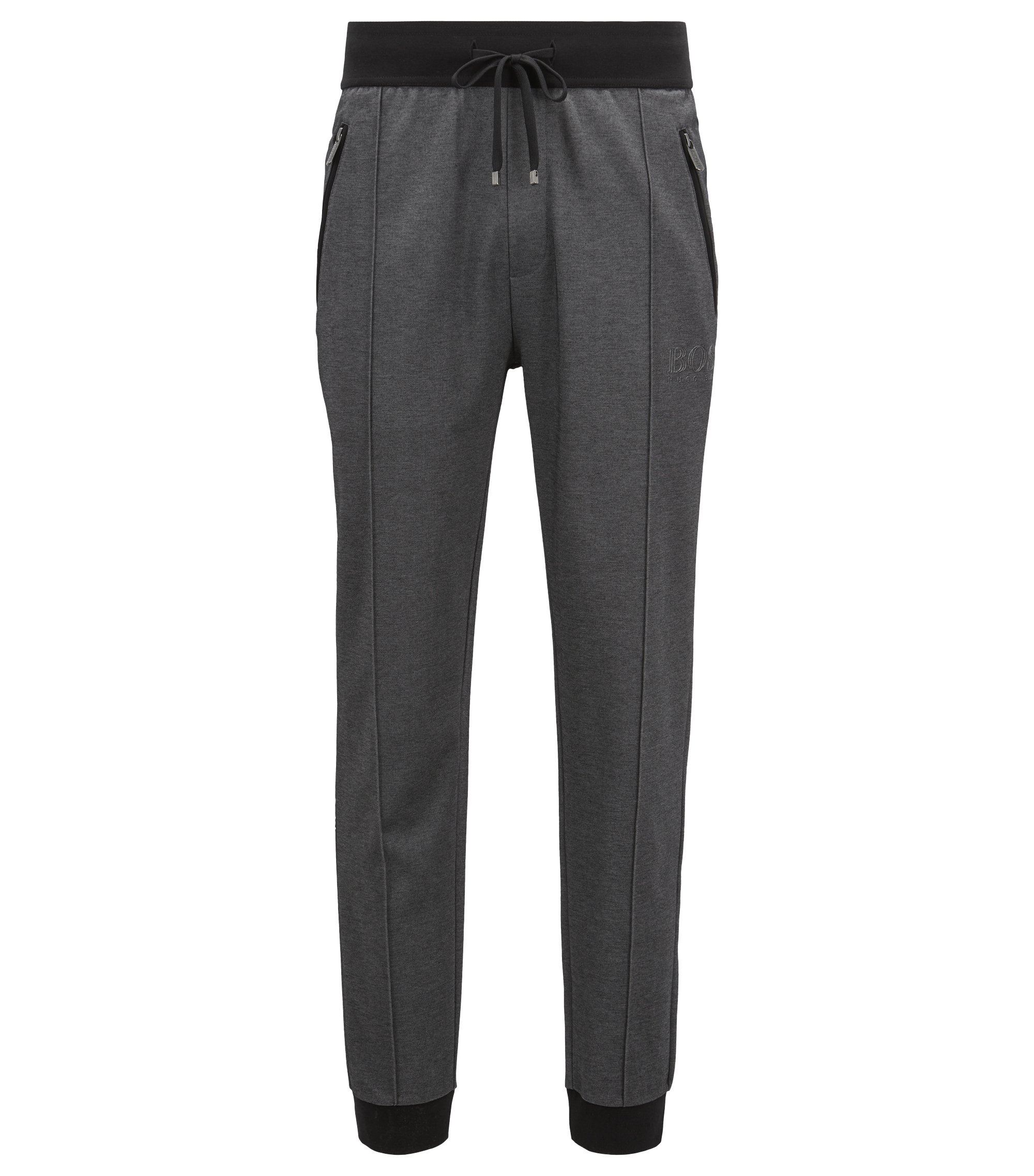 Loungewear trousers in bicoloured cotton-blend piqué, Black