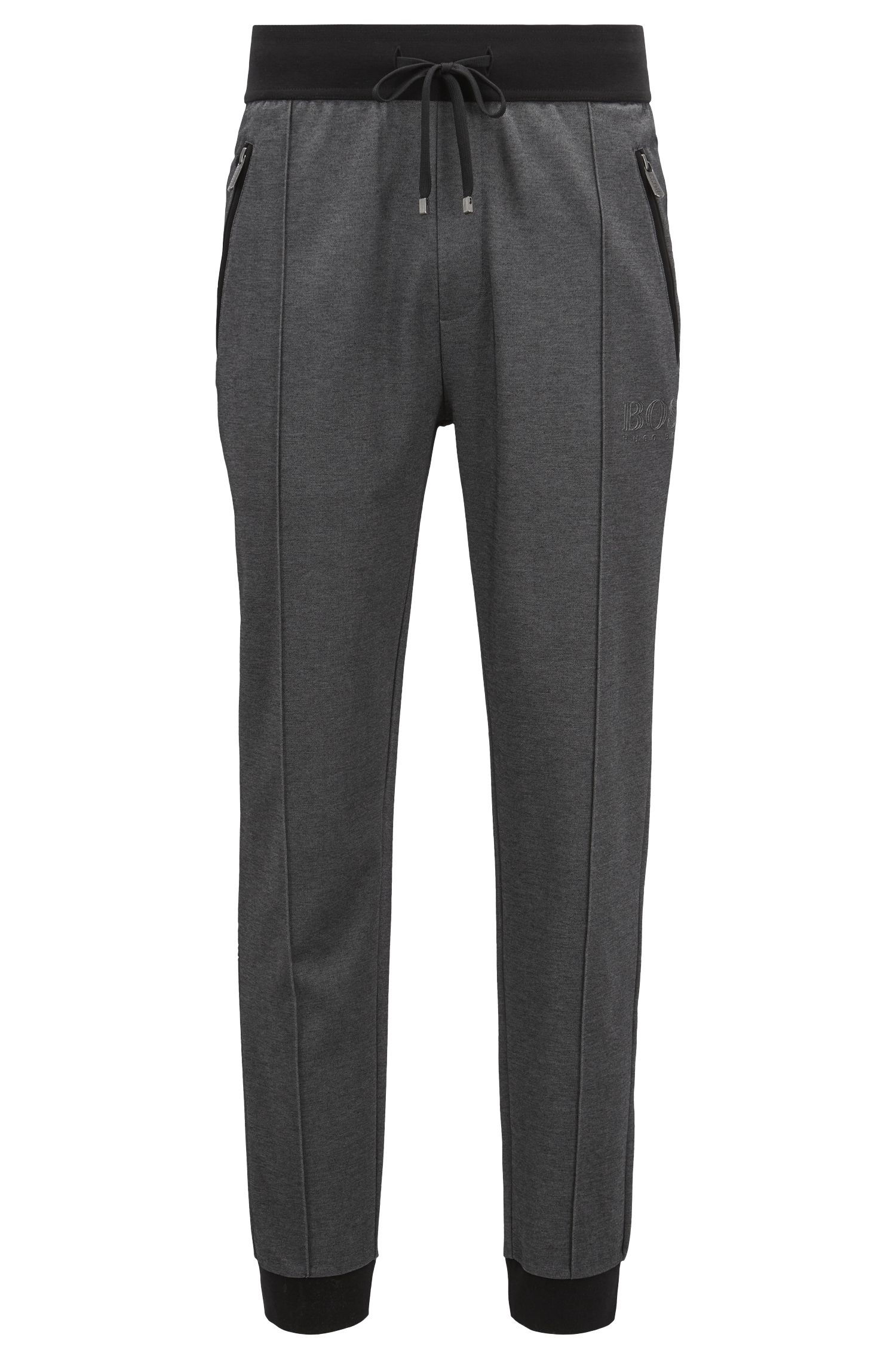 Loungewear trousers in bicoloured cotton-blend piqué