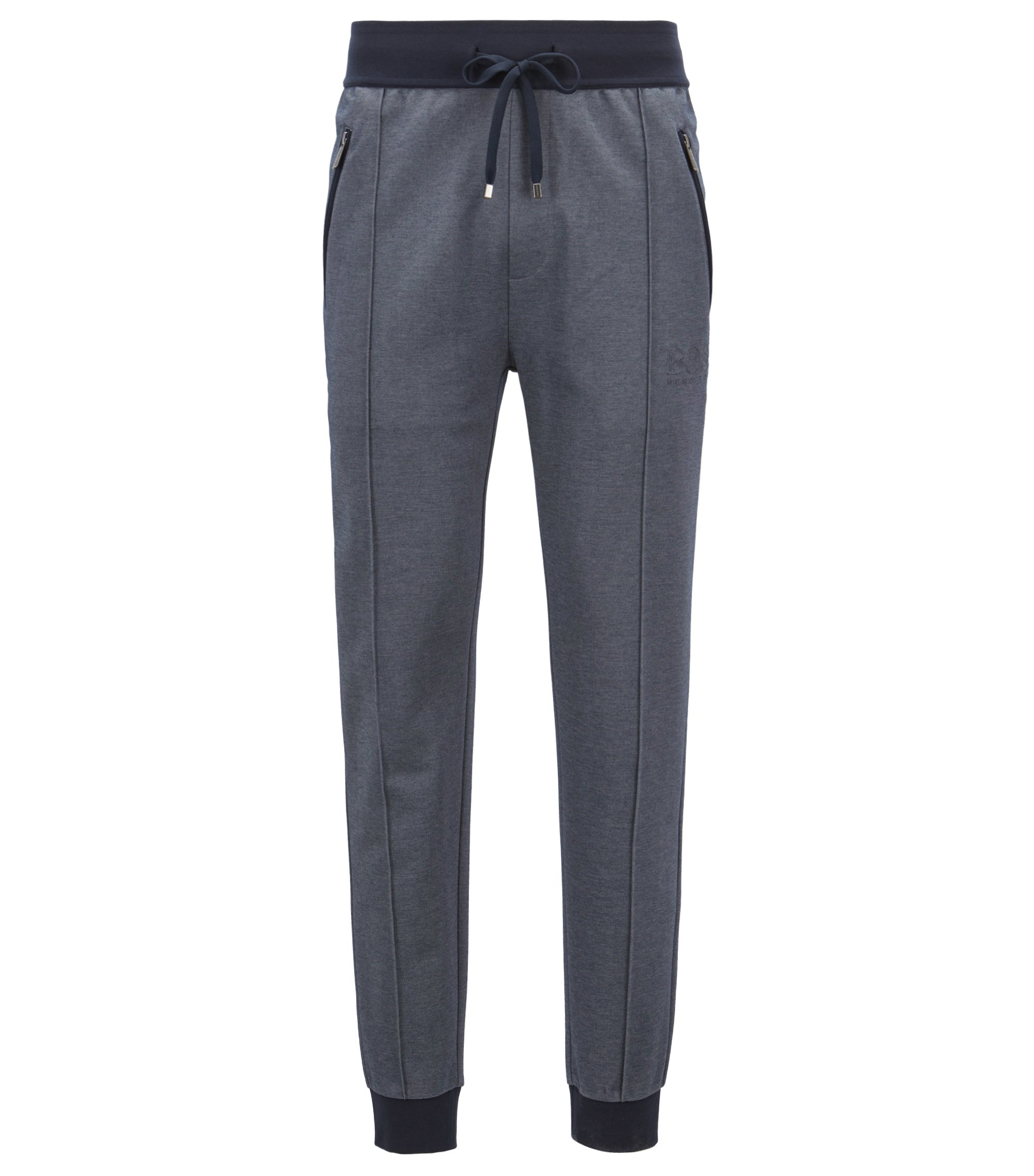 Loungewear trousers in bicoloured cotton-blend piqué, Dark Blue