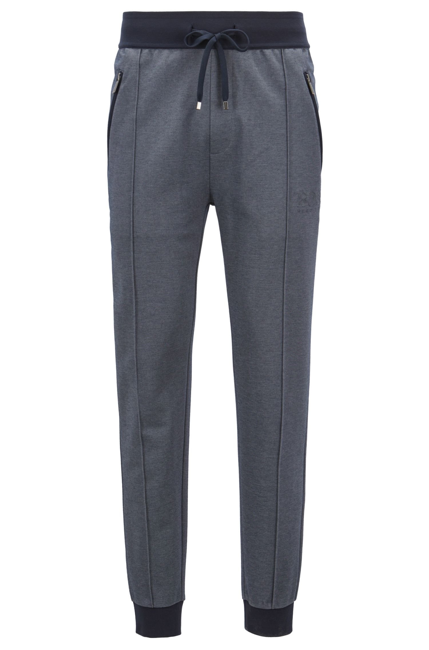 Loungewear trousers in bicoloured cotton-blend piqué, Dark Blue