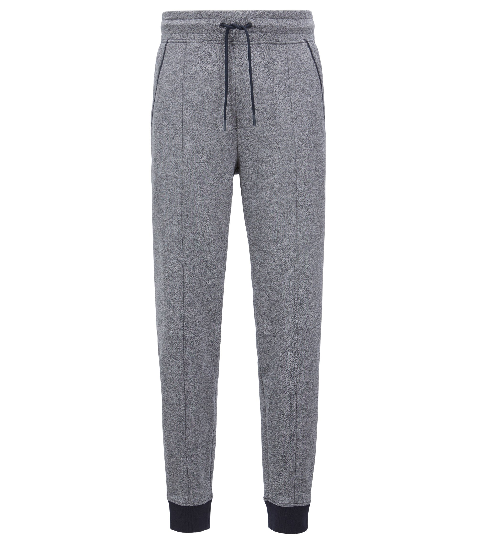 Drawstring-waist loungewear trousers in two-colour cotton terry, Grey