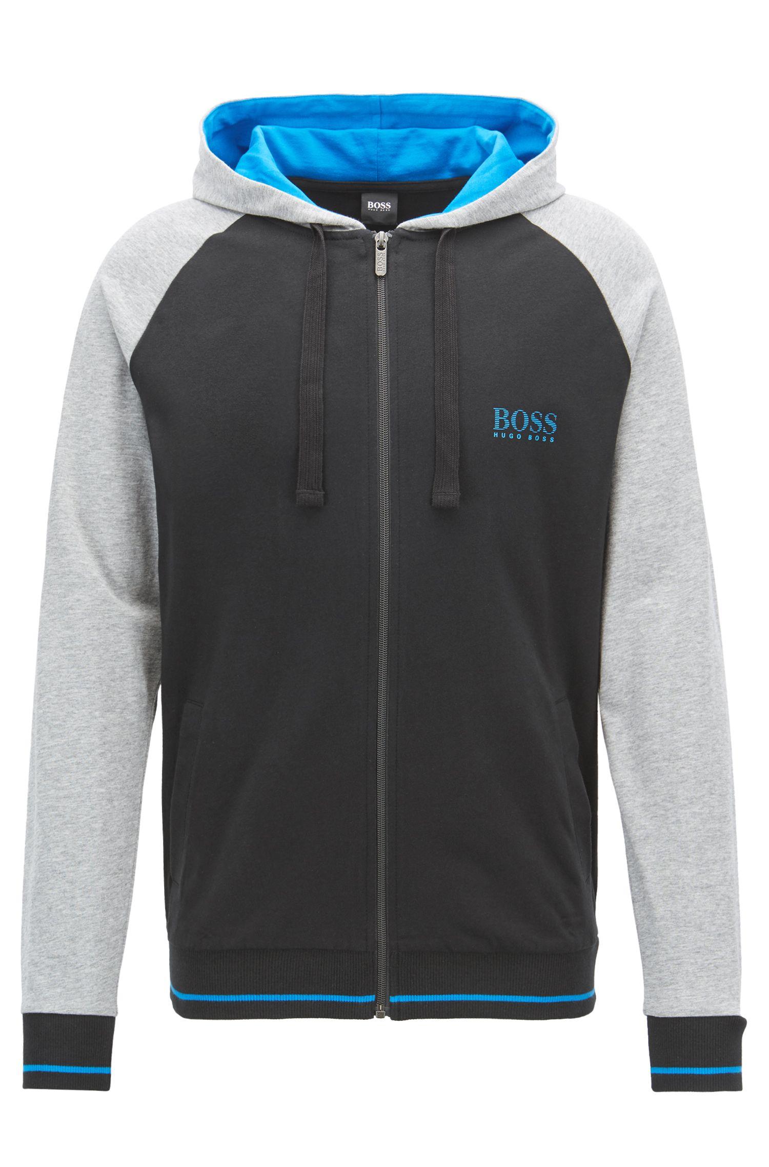 Loungewear-Jacke aus reiner Baumwolle mit kontrastfarbenen Raglanärmeln, Schwarz