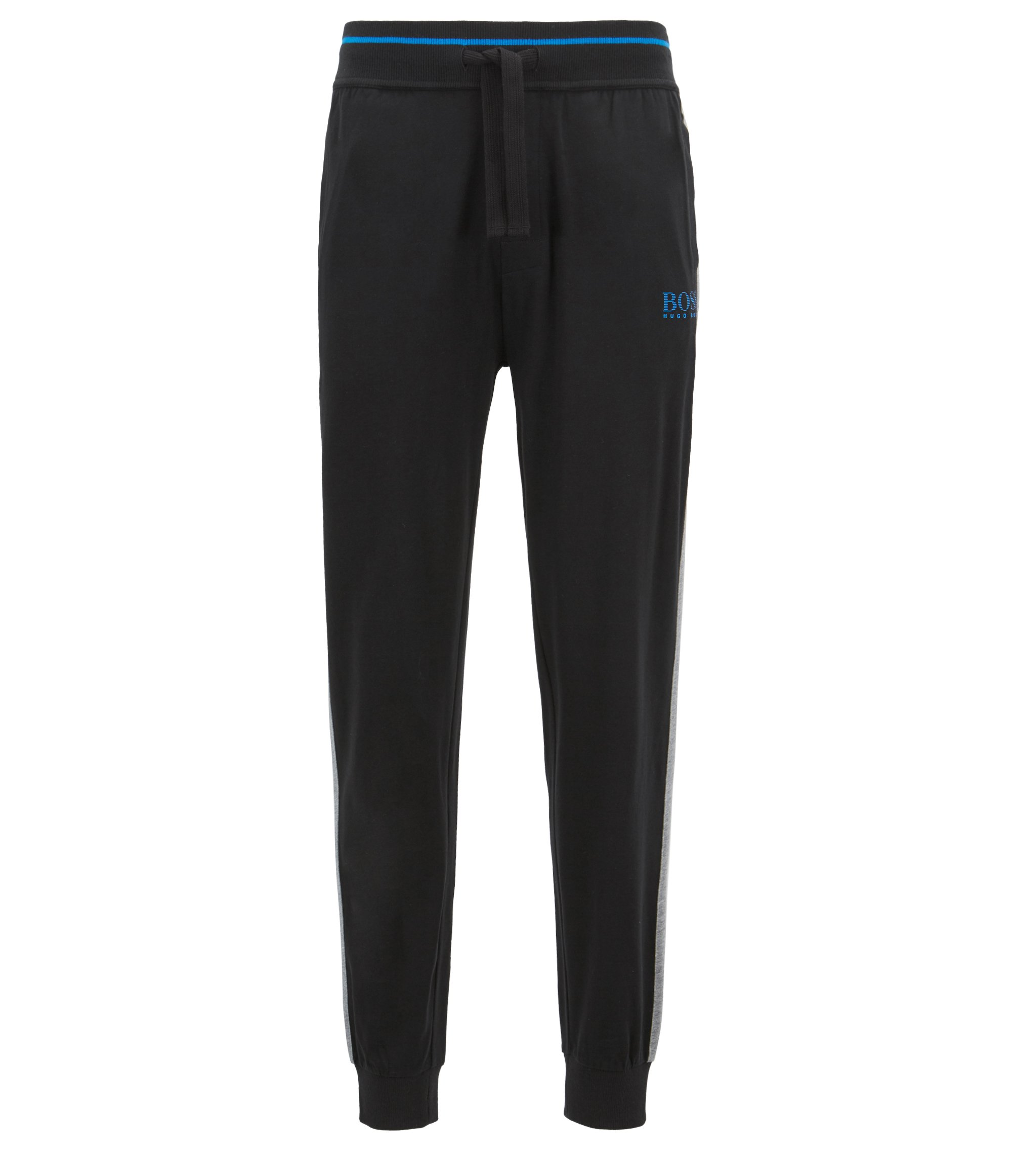 Loungewear trousers in pure cotton with contrast stripe detail, Black