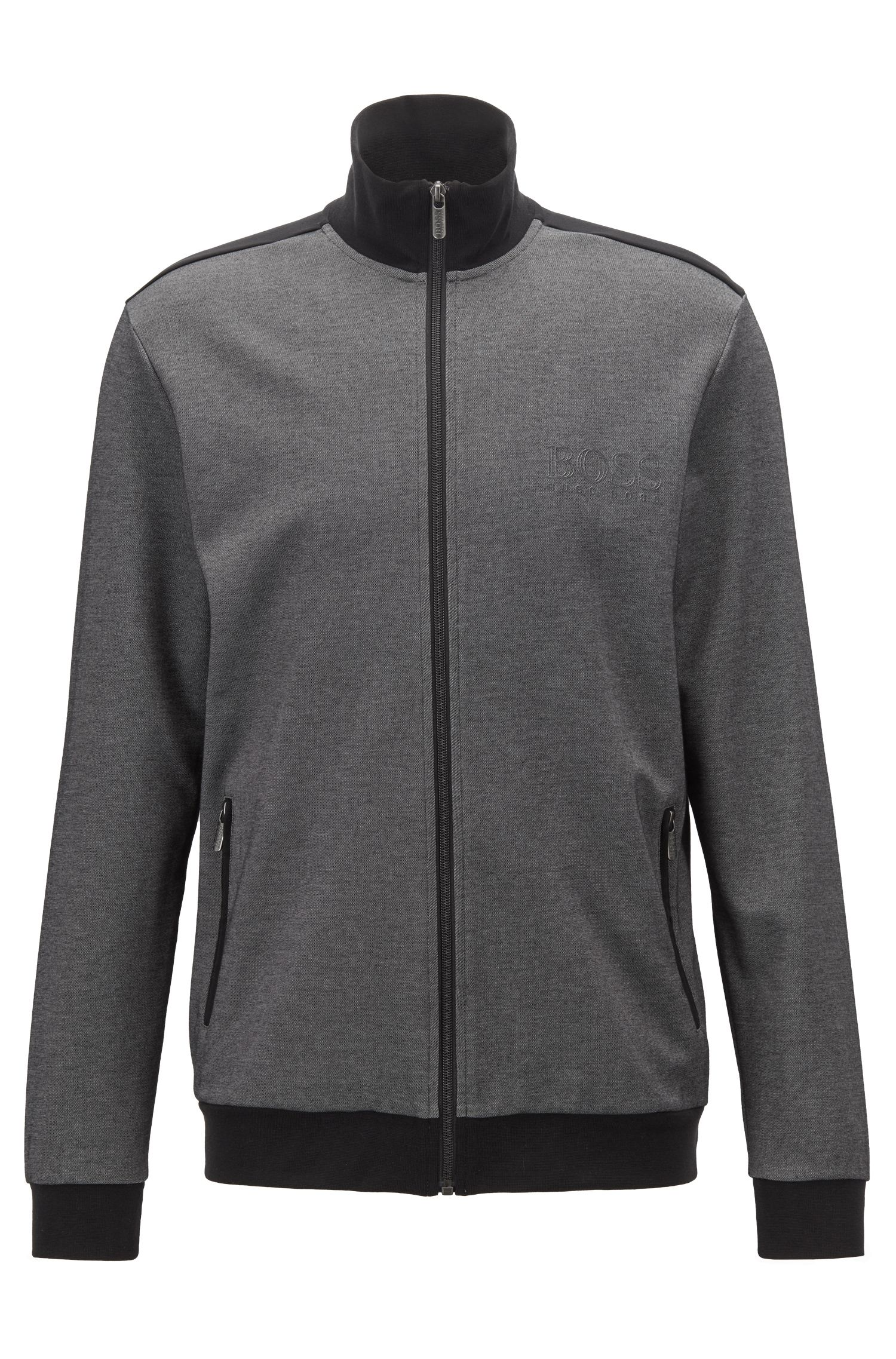 Zip-through loungewear jacket in two-coloured piqué, Black