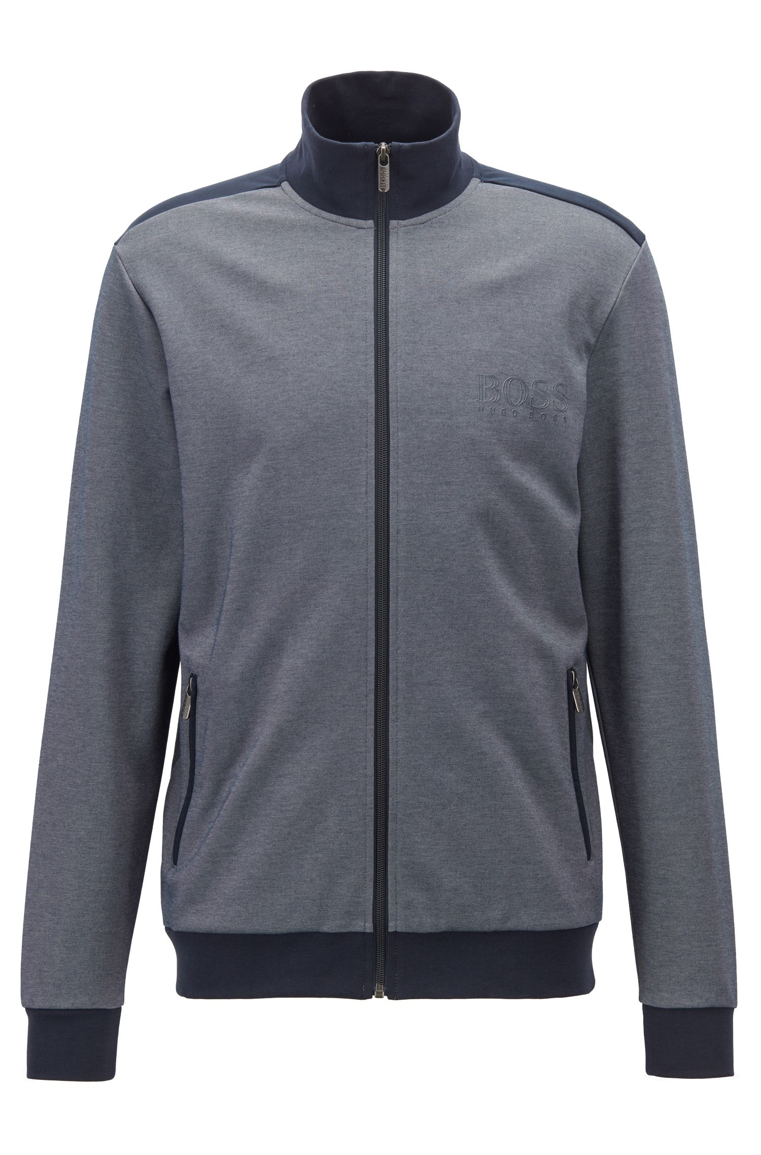 Zip-through loungewear jacket in two-coloured piqué