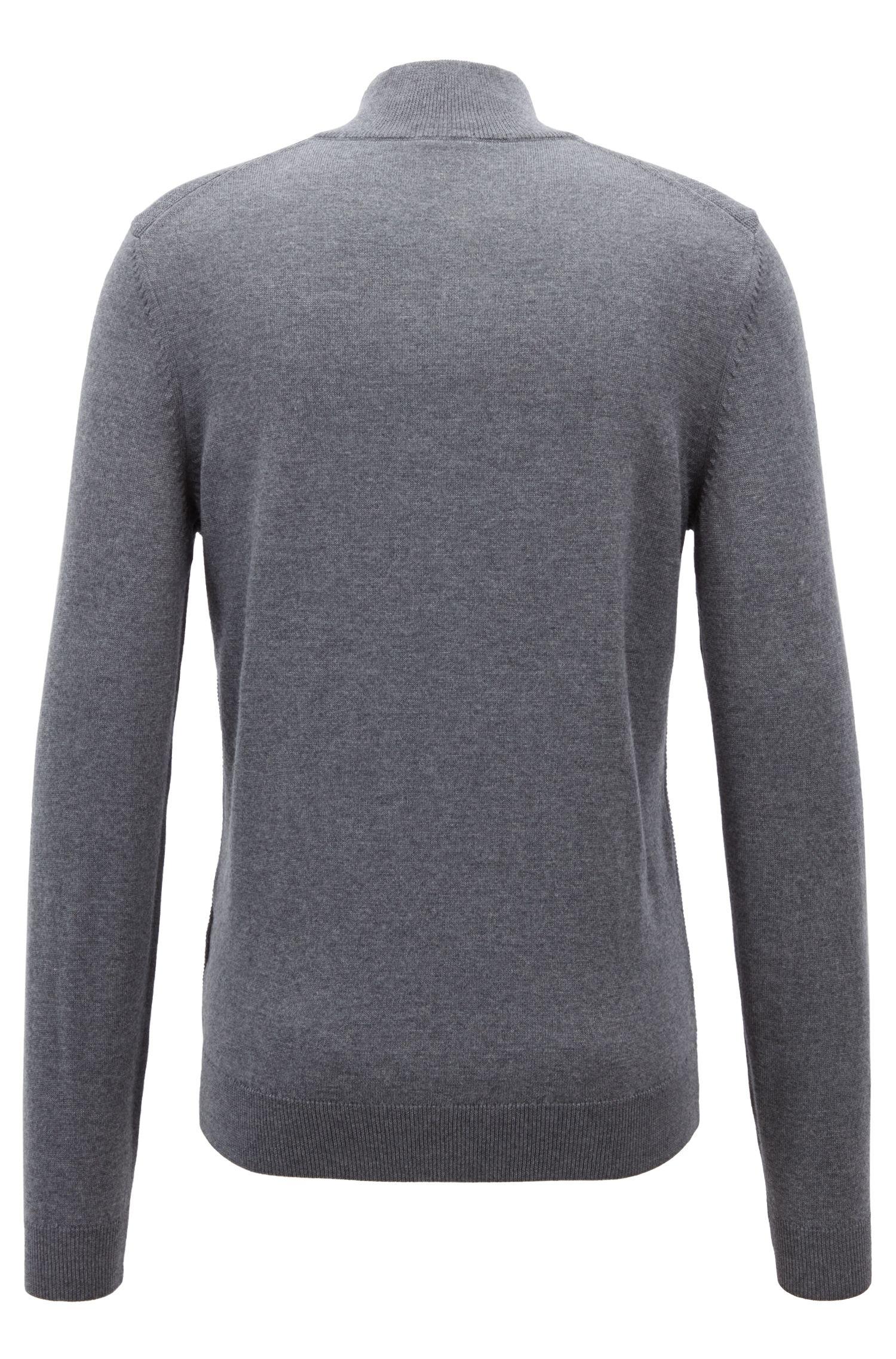 Pull en laine mérinos italienne avec encolure zippée, Gris