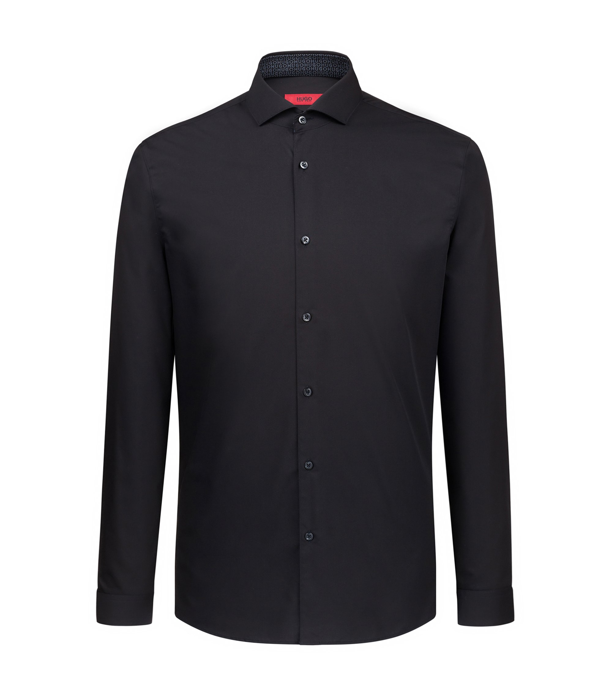 Extra-slim-fit easy-iron shirt with spread collar, Black