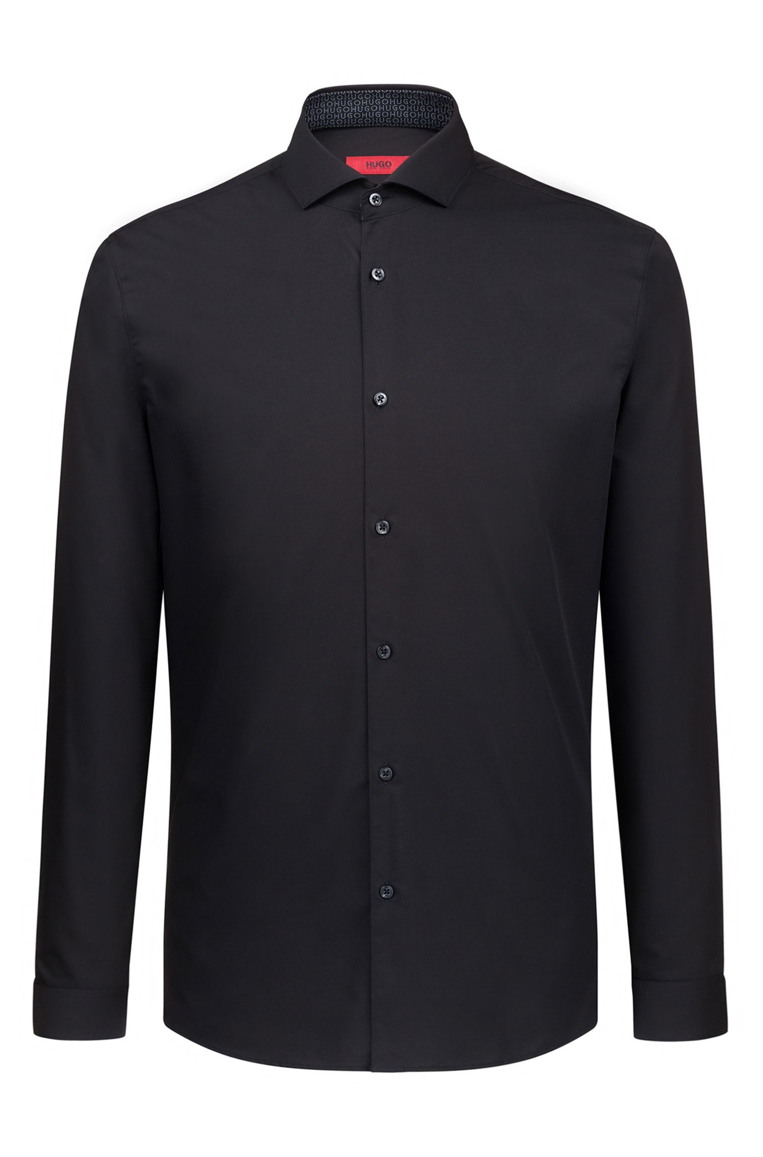 Camicia extra slim fit facile da stirare con colletto alla francese, Nero