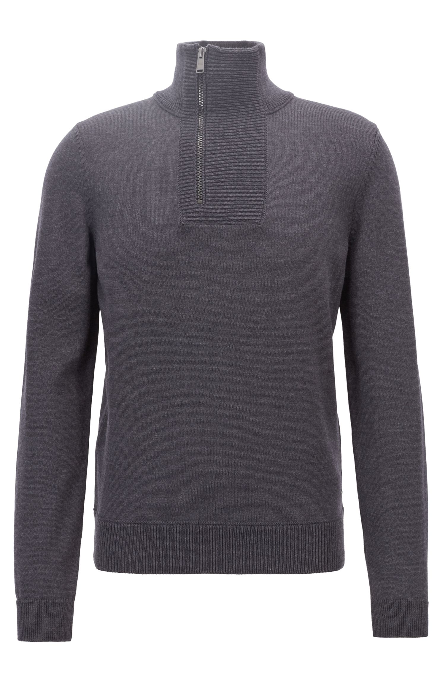 Troyer-inspired sweater in merino wool with zip neck, Dark Grey