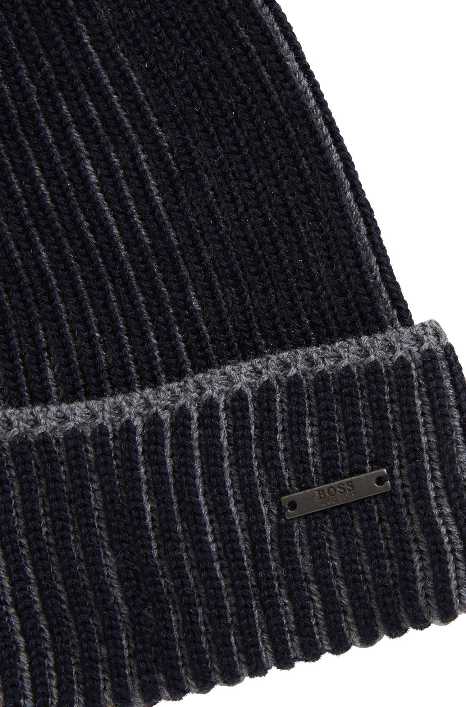 Knitted beanie hat in two-tone virgin wool, Dark Blue