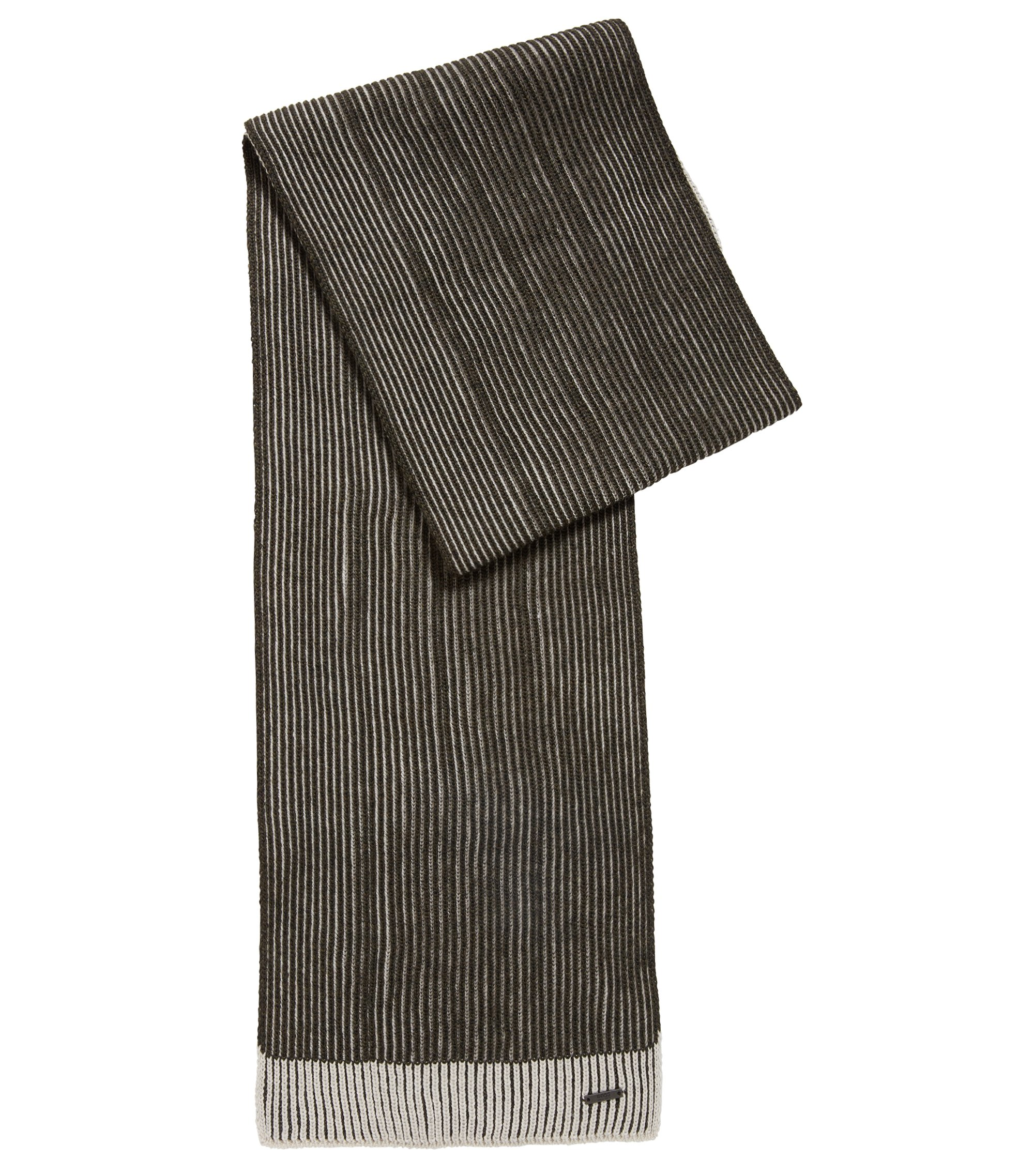 Knitted scarf in two-tone virgin wool, Dark Green