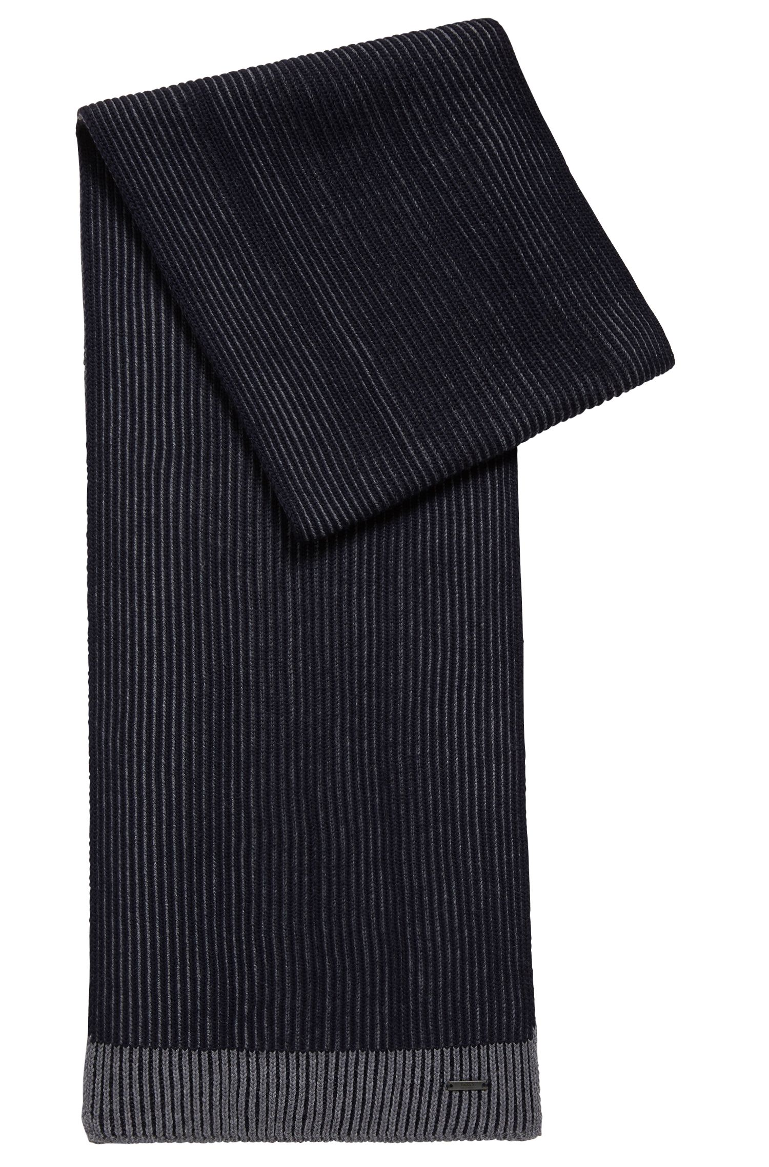 Knitted scarf in two-tone virgin wool, Dark Blue