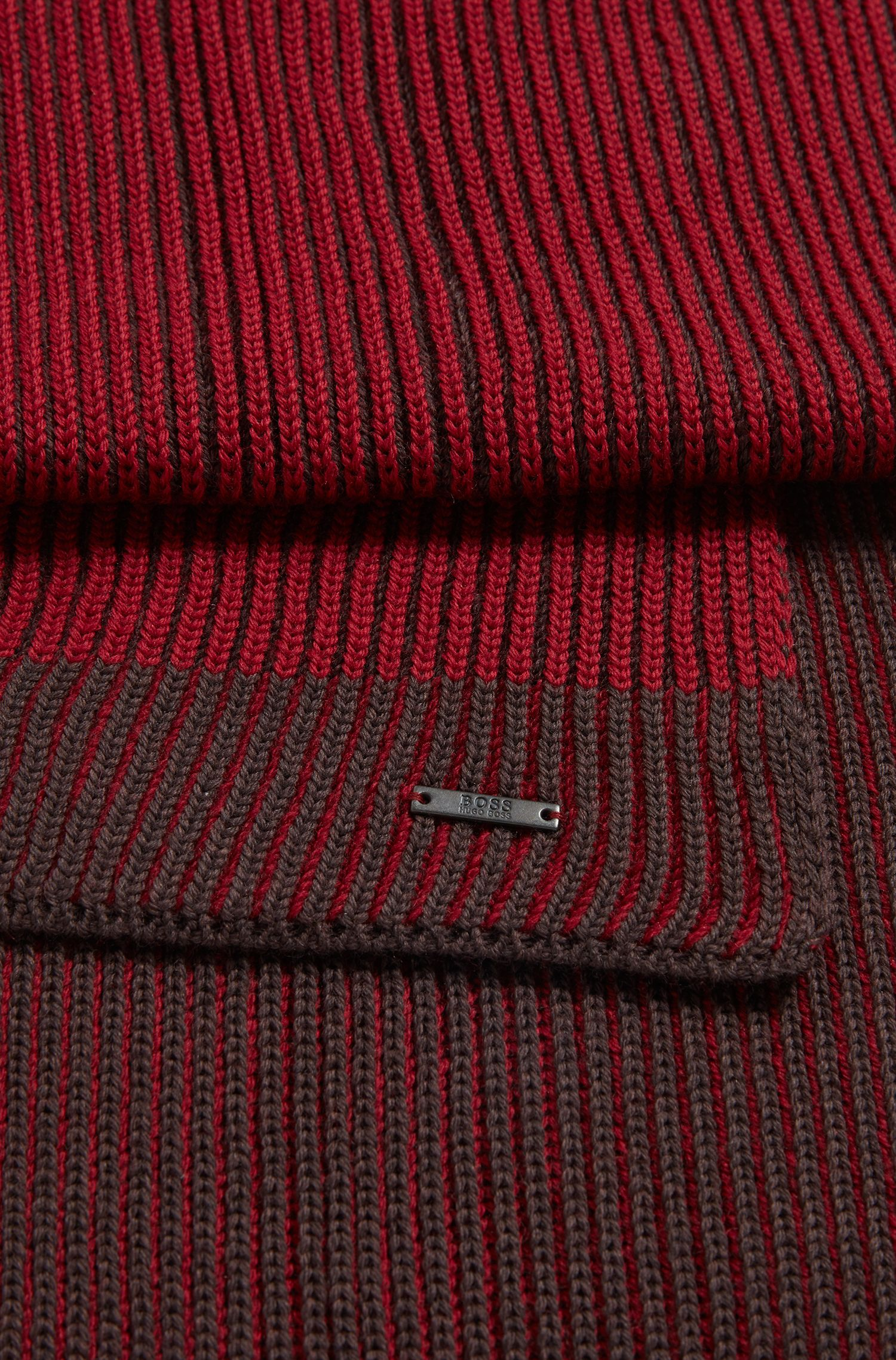 Knitted scarf in two-tone virgin wool, Dark Red