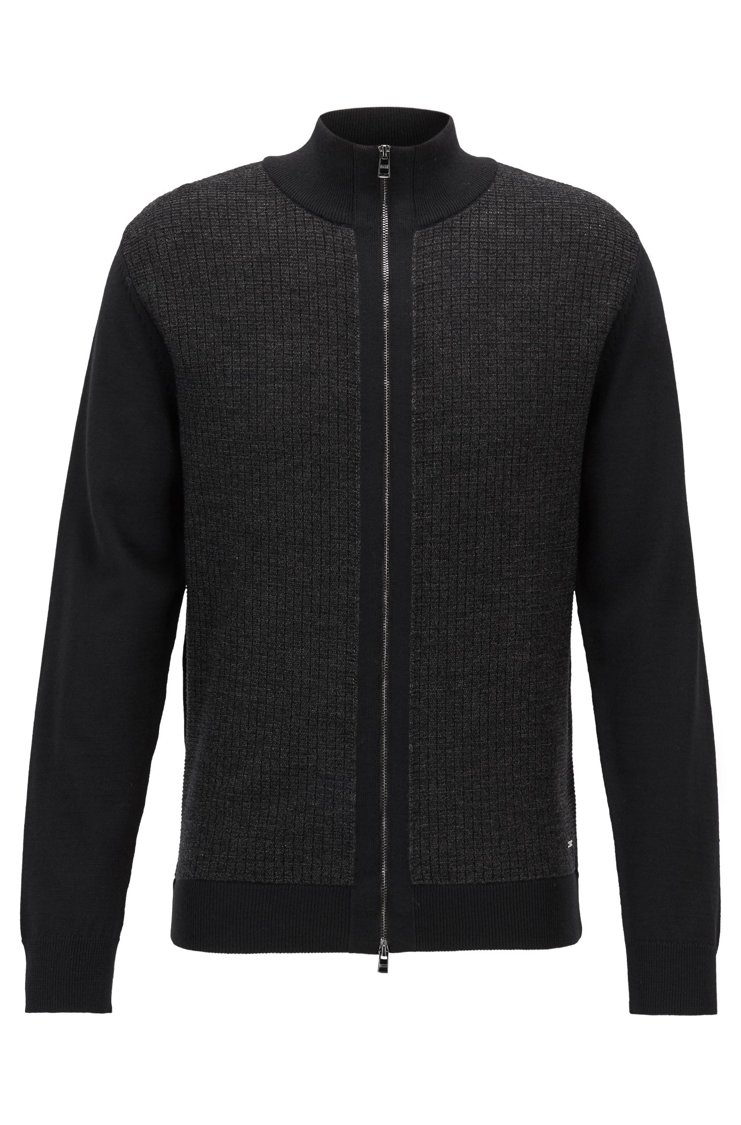 Cardigan regular fit con zip in lana merino realizzata in Italia, Nero