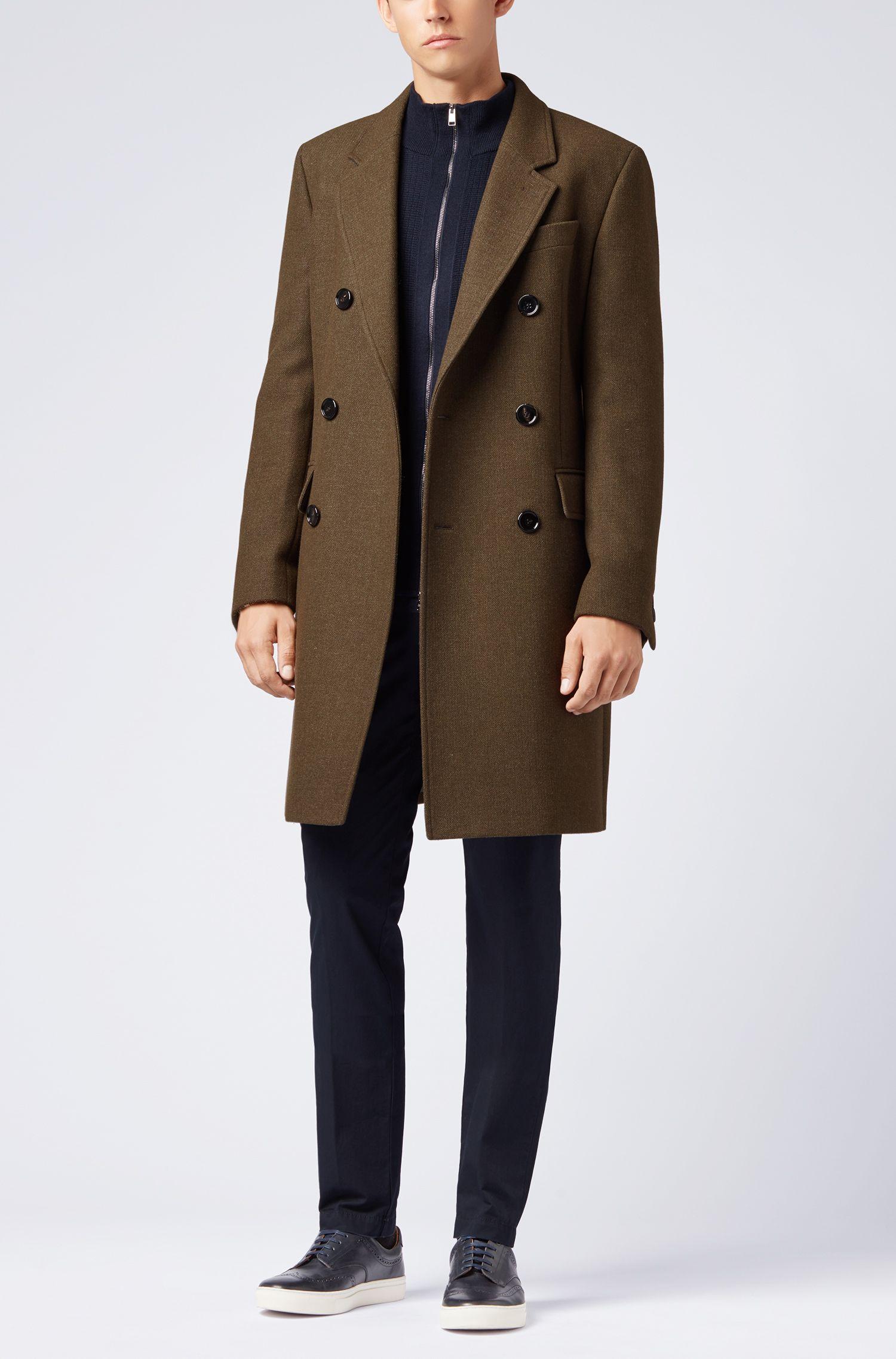 Cardigan regular fit con zip in lana merino realizzata in Italia, Blu scuro