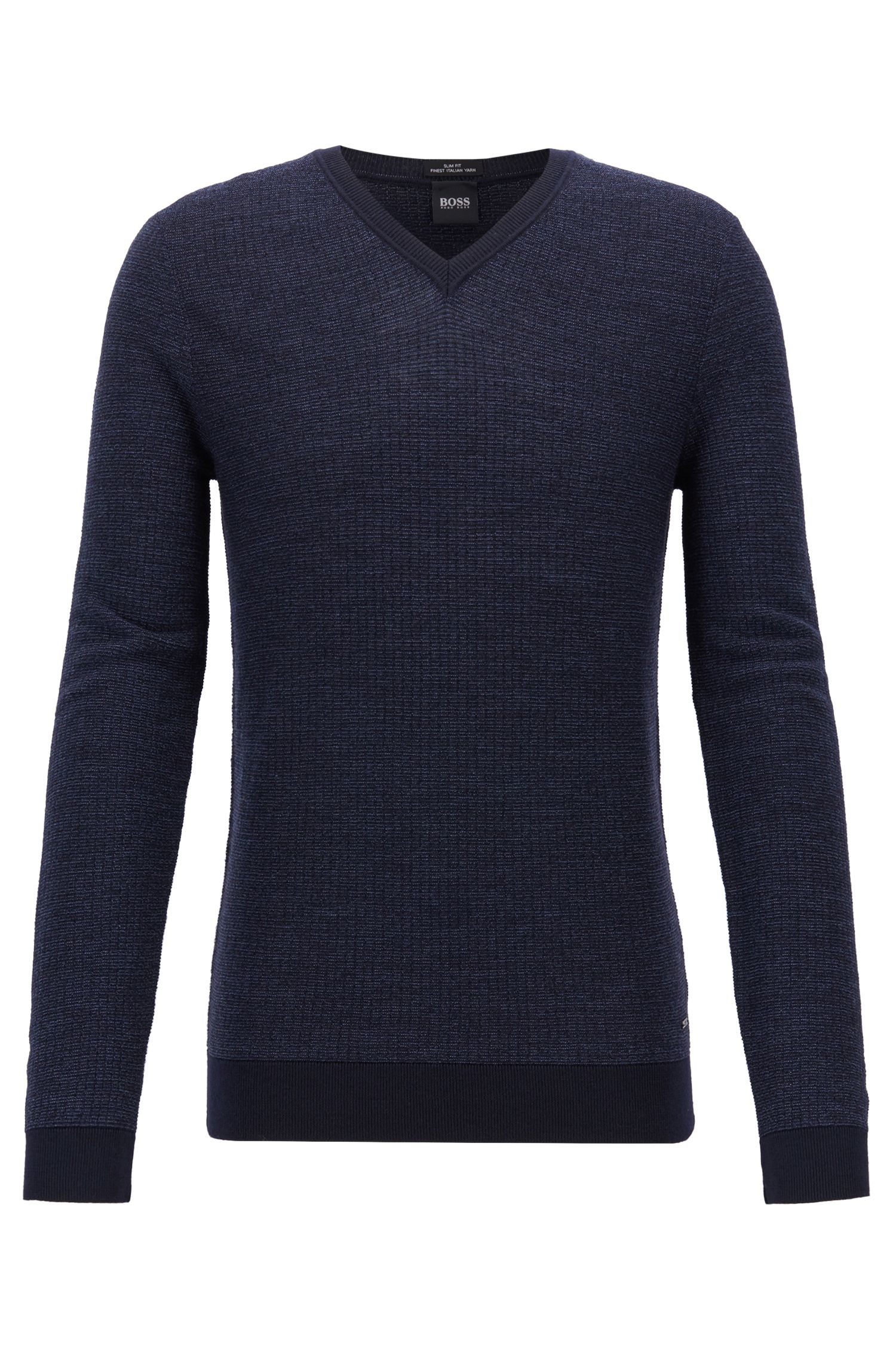 Slim-fit sweater in extra-fine Italian merino wool, Dark Blue