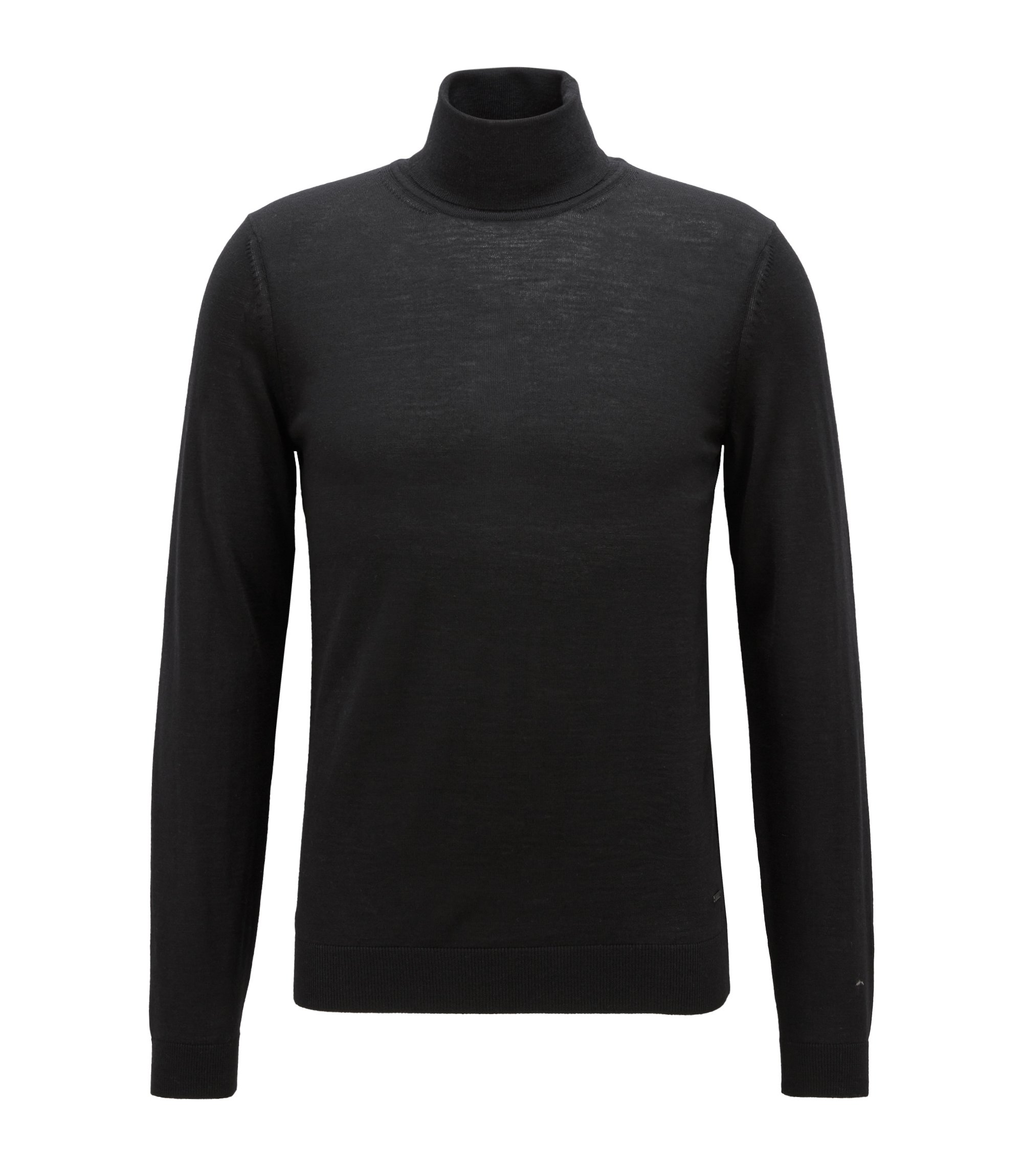 Turtleneck sweater in extra-fine Italian merino wool, Black