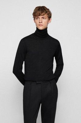 Jersey de cuello alto en lana de merino italiana extrafina, Negro