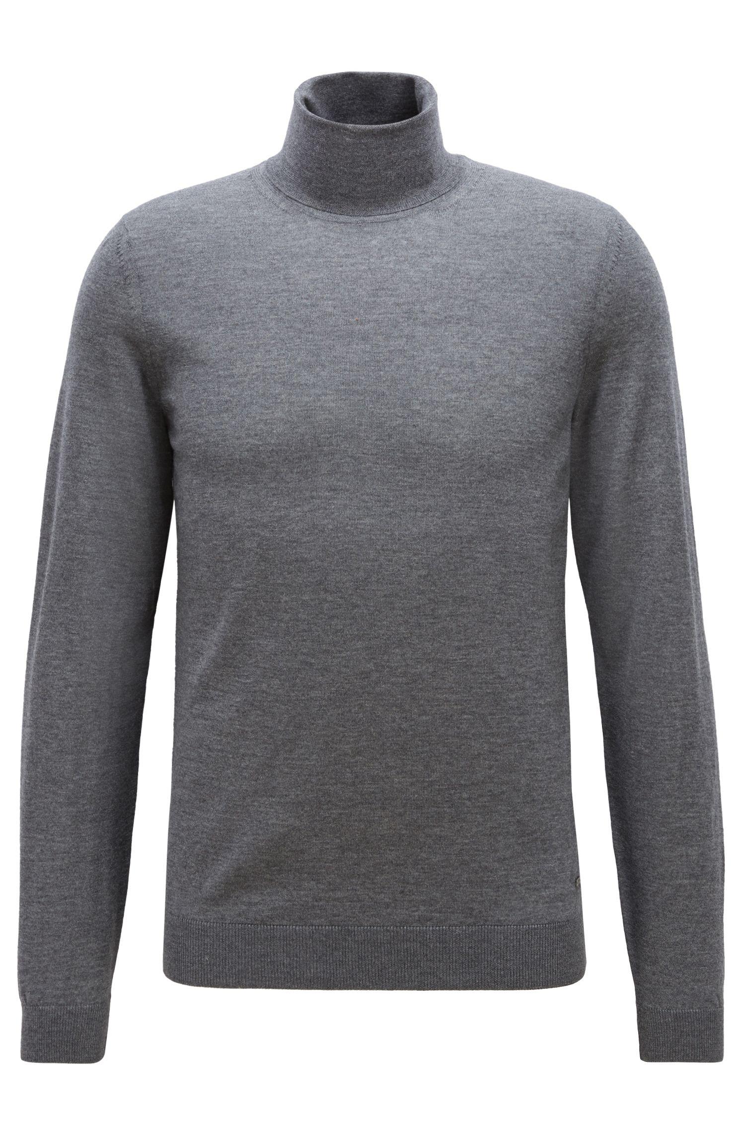 Jersey de cuello alto en lana de merino italiana extrafina, Gris