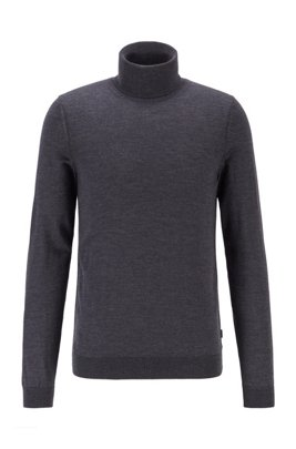 Turtleneck sweater in extra-fine Italian merino wool, Dark Grey