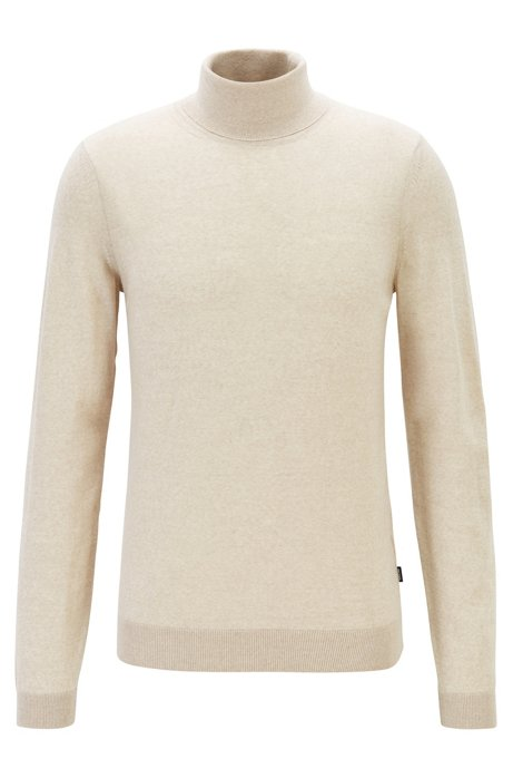 Turtleneck sweater in extra-fine Italian merino wool, Natural