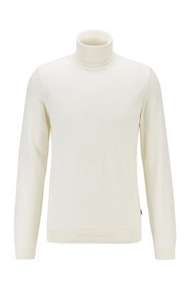 Turtleneck sweater in extra-fine Italian merino wool, White