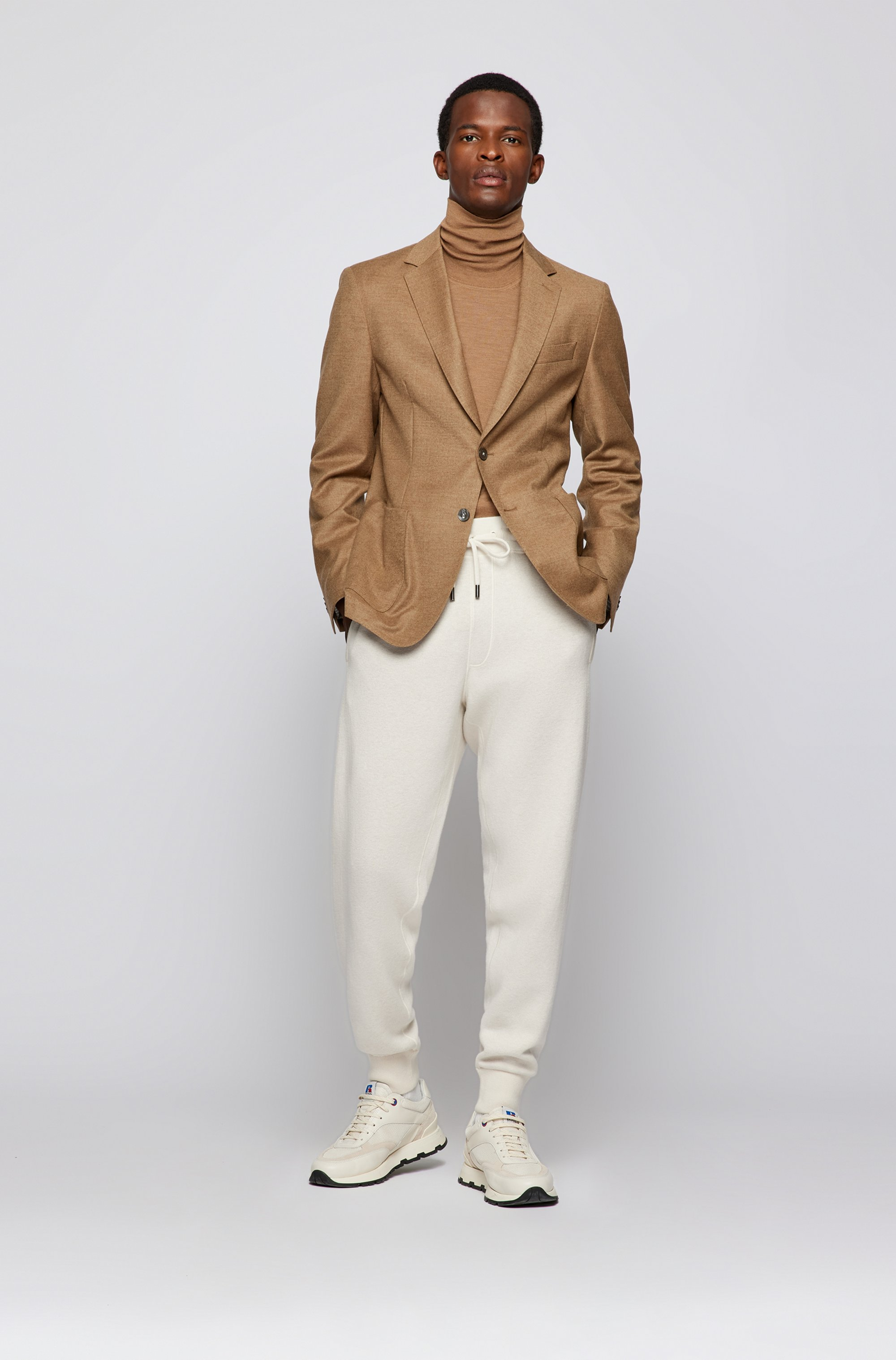 Jersey de cuello alto en lana de merino italiana extrafina