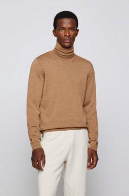 Jersey de cuello alto en lana de merino italiana extrafina, Beige