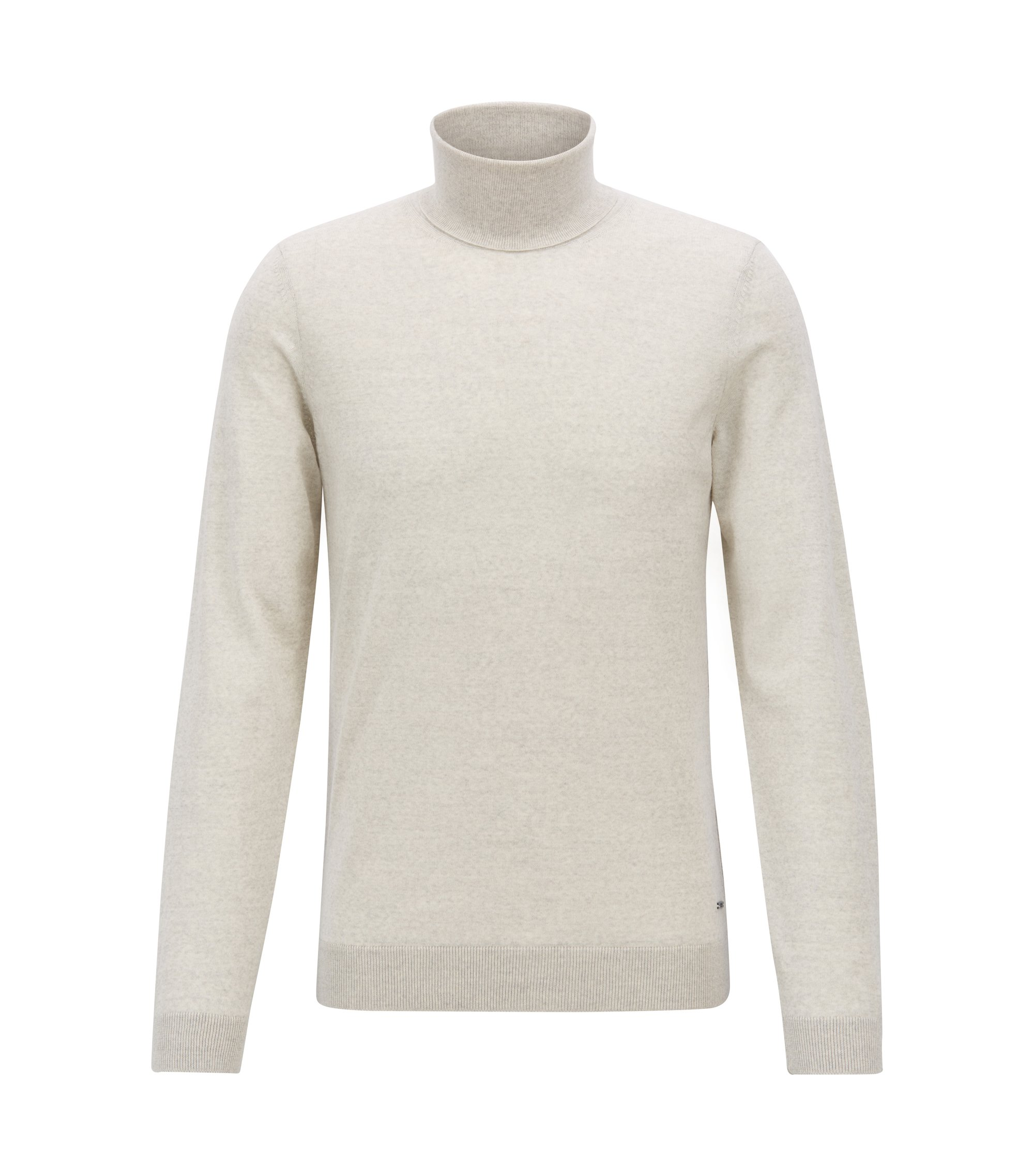 Turtleneck sweater in extra-fine Italian merino wool, Light Beige