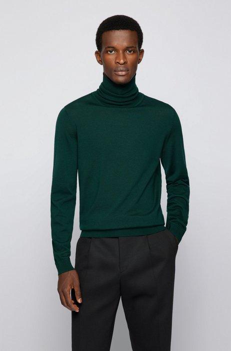 Turtleneck sweater in extra-fine Italian merino wool, Dark Green