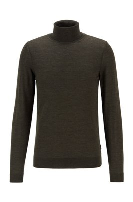 Turtleneck sweater in extra-fine Italian merino wool, Green