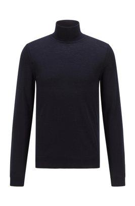 Jersey de cuello alto en lana de merino italiana extrafina, Azul oscuro