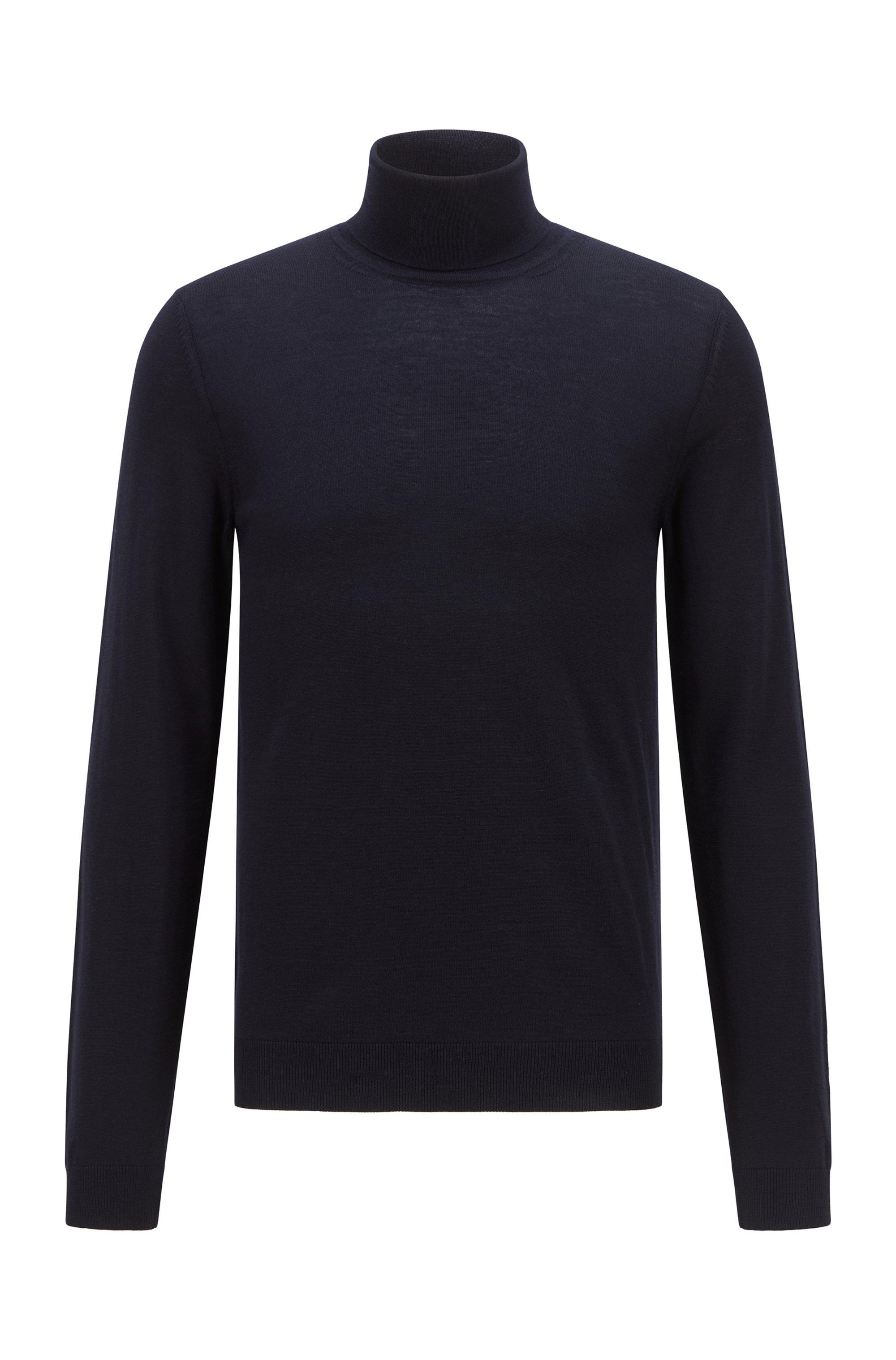 Turtleneck sweater in extra-fine Italian merino wool, Dark Blue
