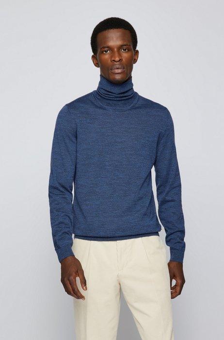 Turtleneck sweater in extra-fine Italian merino wool, Blue