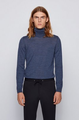 Turtleneck sweater in extra-fine Italian merino wool, Dark Blue