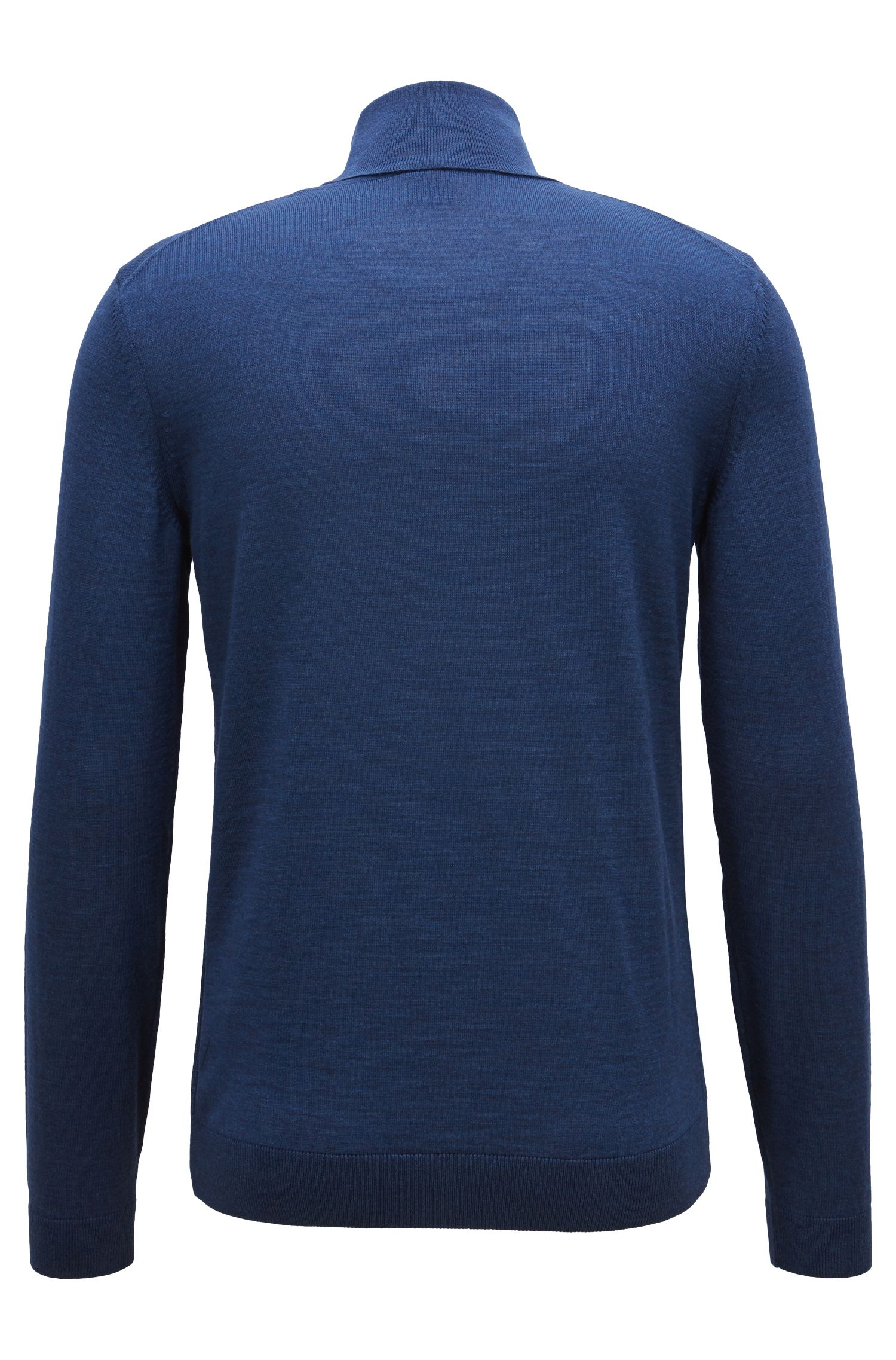 Turtleneck sweater in extra-fine Italian merino wool, Blue